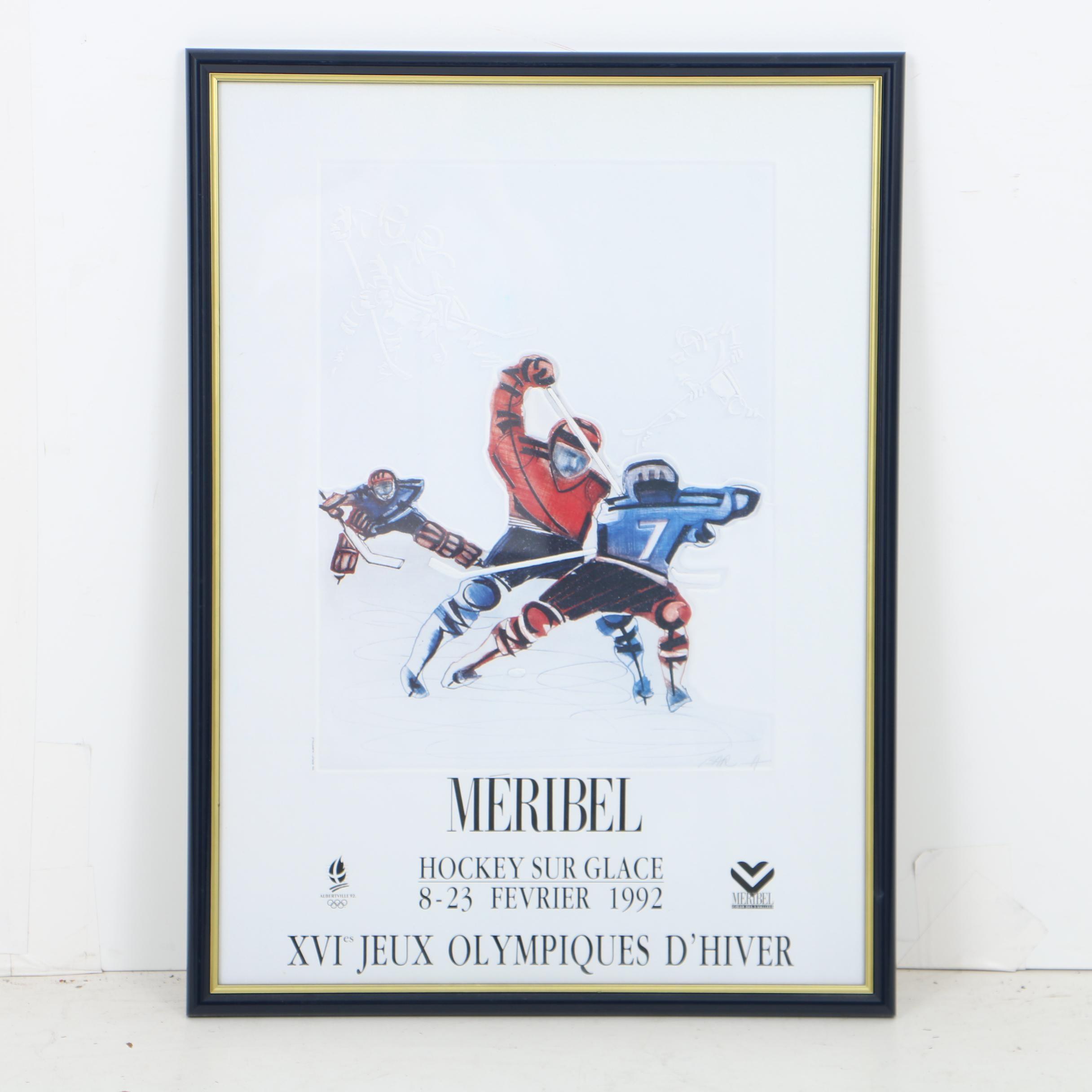 Méribel 1992 Winter Olympics Hockey Poster