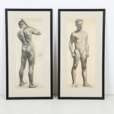 Robert Brown Graphite Drawings on Paper of Male Athletes