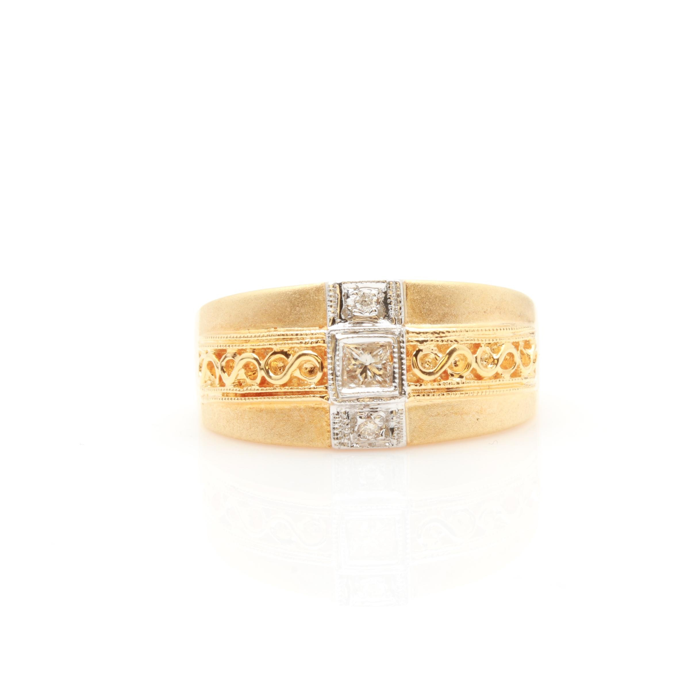 18K Two Tone Gold Diamond Ring