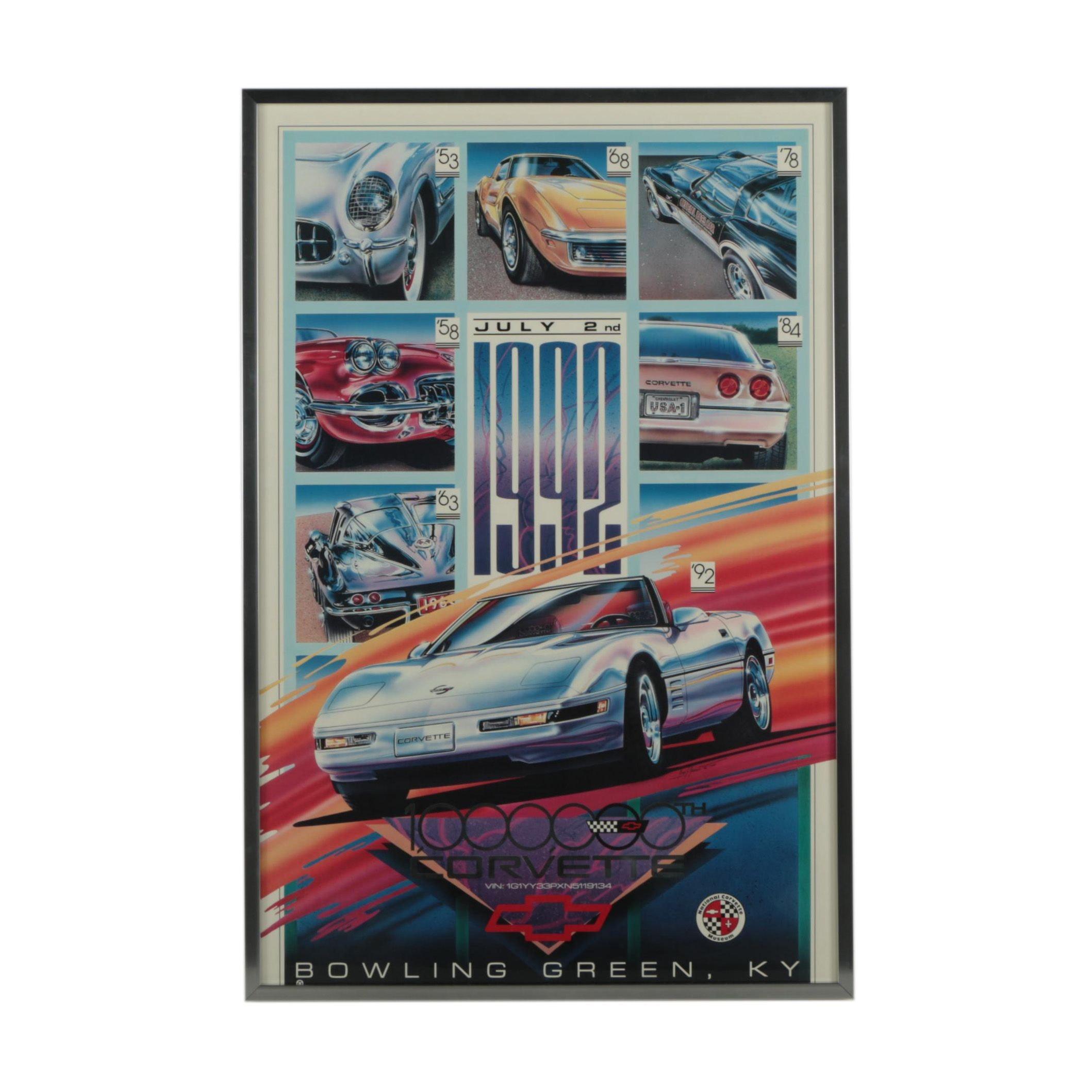 Offset Lithograph After Tony J. Warren 1992 Corvette Poster