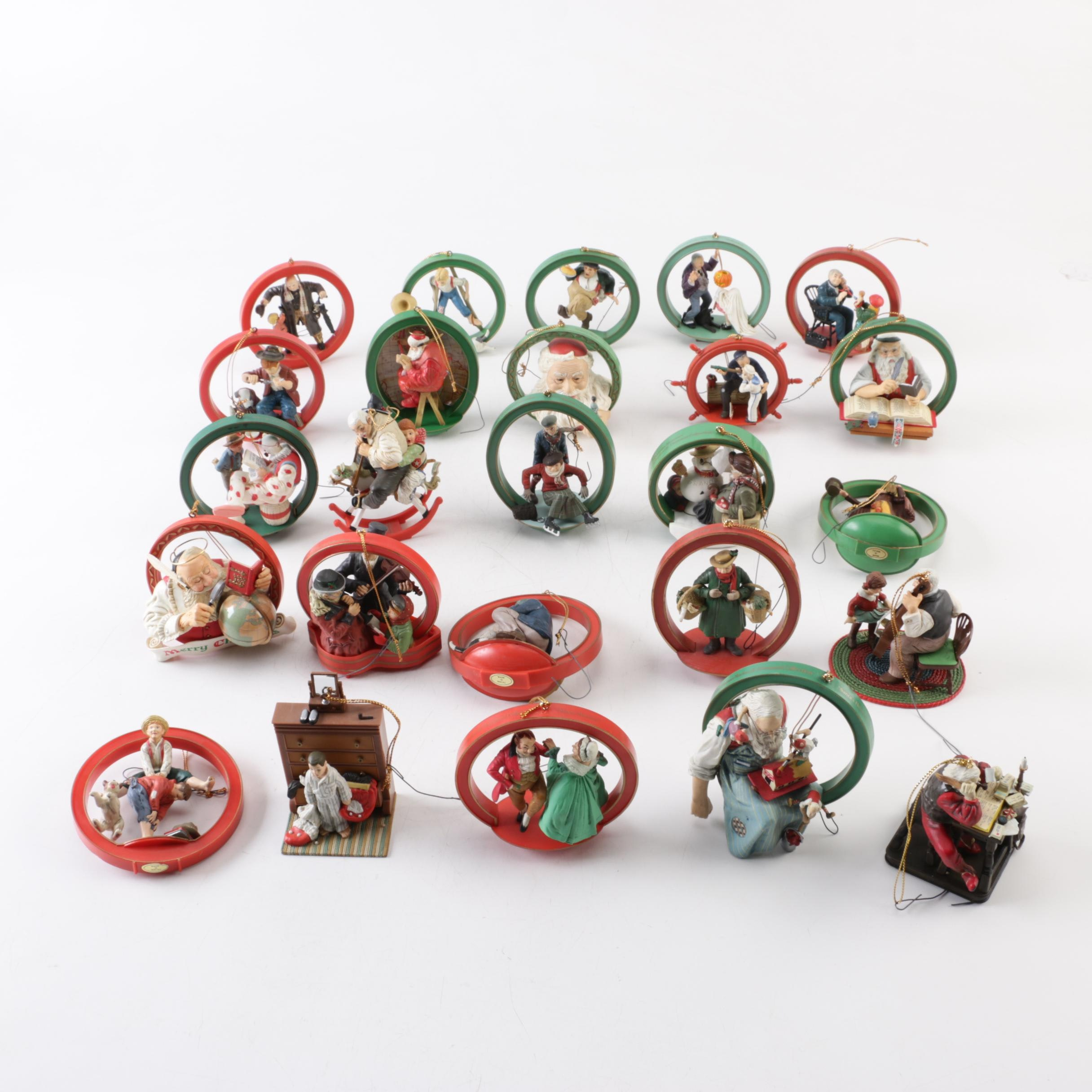 """Christmas Ornament Collectors Club """"Norman Rockwell"""" Themed Ornaments"""