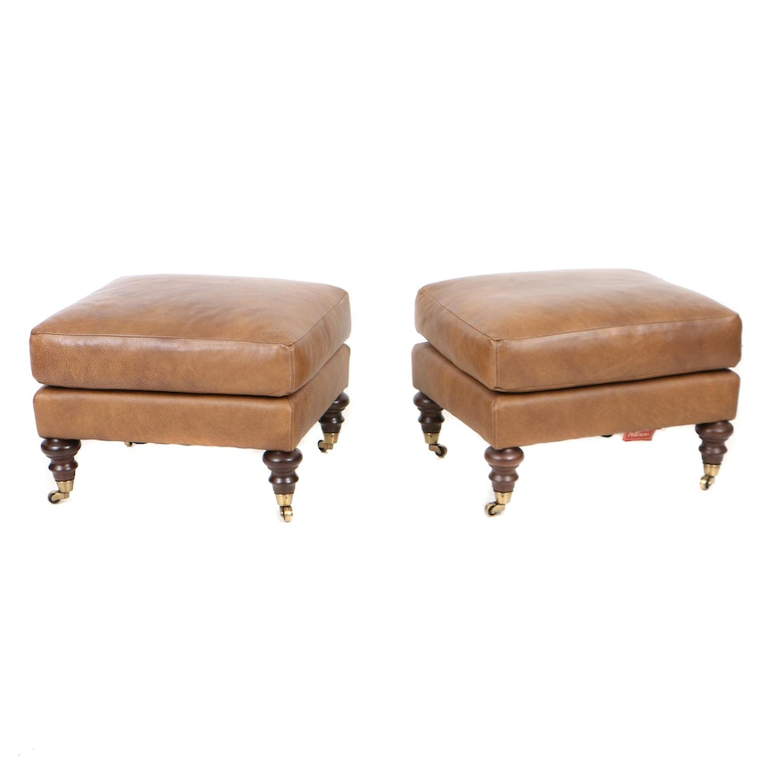 Pearson Furniture Faux Leather Ottomans Ebth