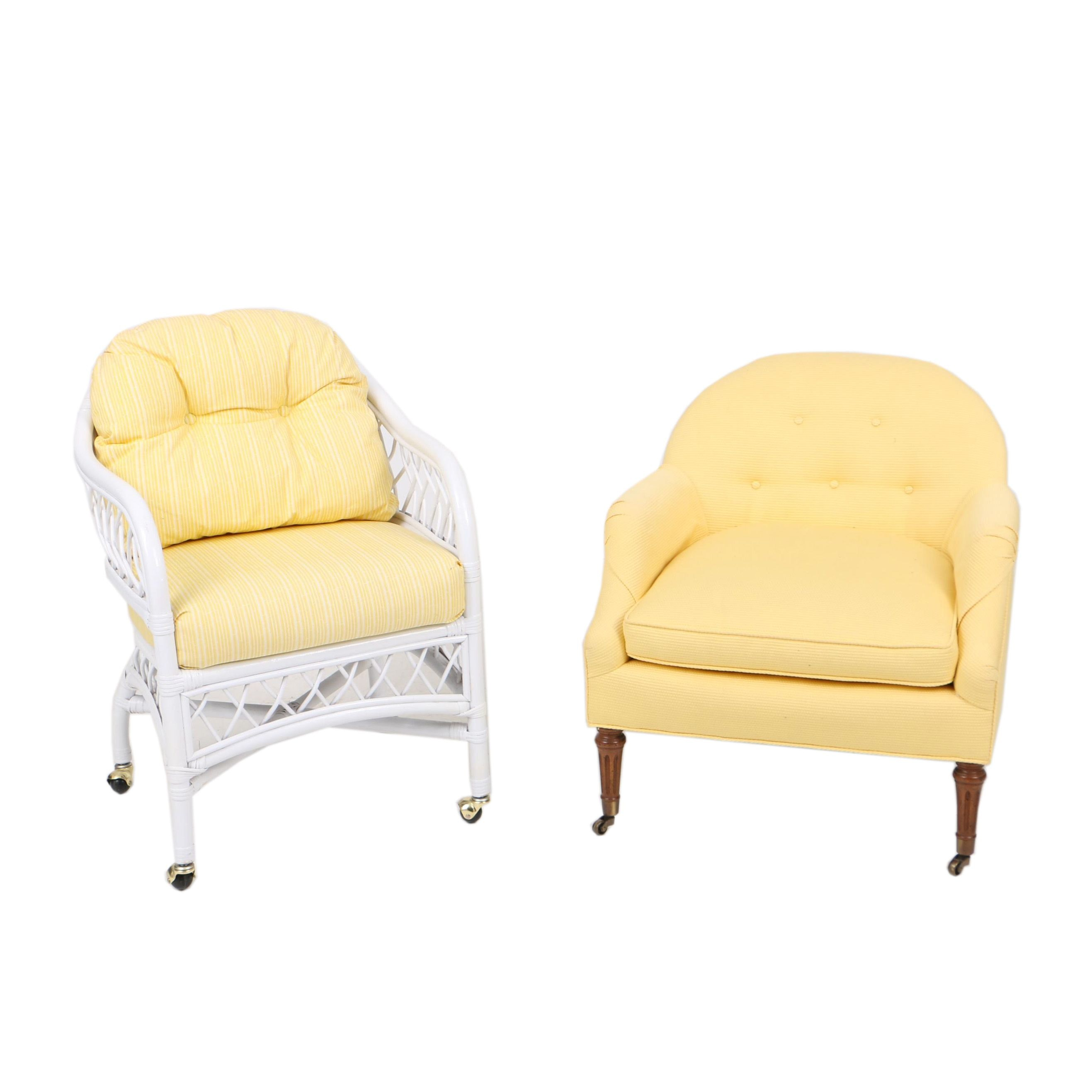 Two Yellow-Upholstered Armchairs, Including Henry Link