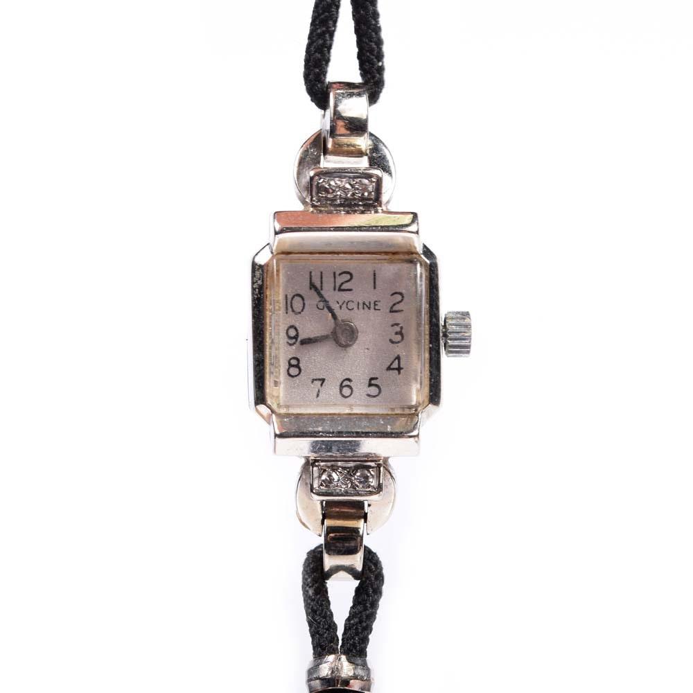 Plated Base Metal Glycine Diamond Wristwatch