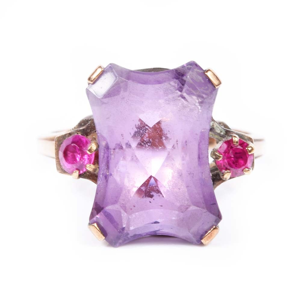 10K Yellow Gold 4.25 CT Amethyst and Simulated Stones Ring