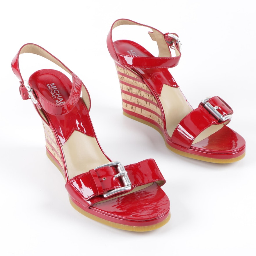 478cb0887fe Michael Michael Kors Pacific Sandal Red Patent Leather and Cork Wedges    EBTH