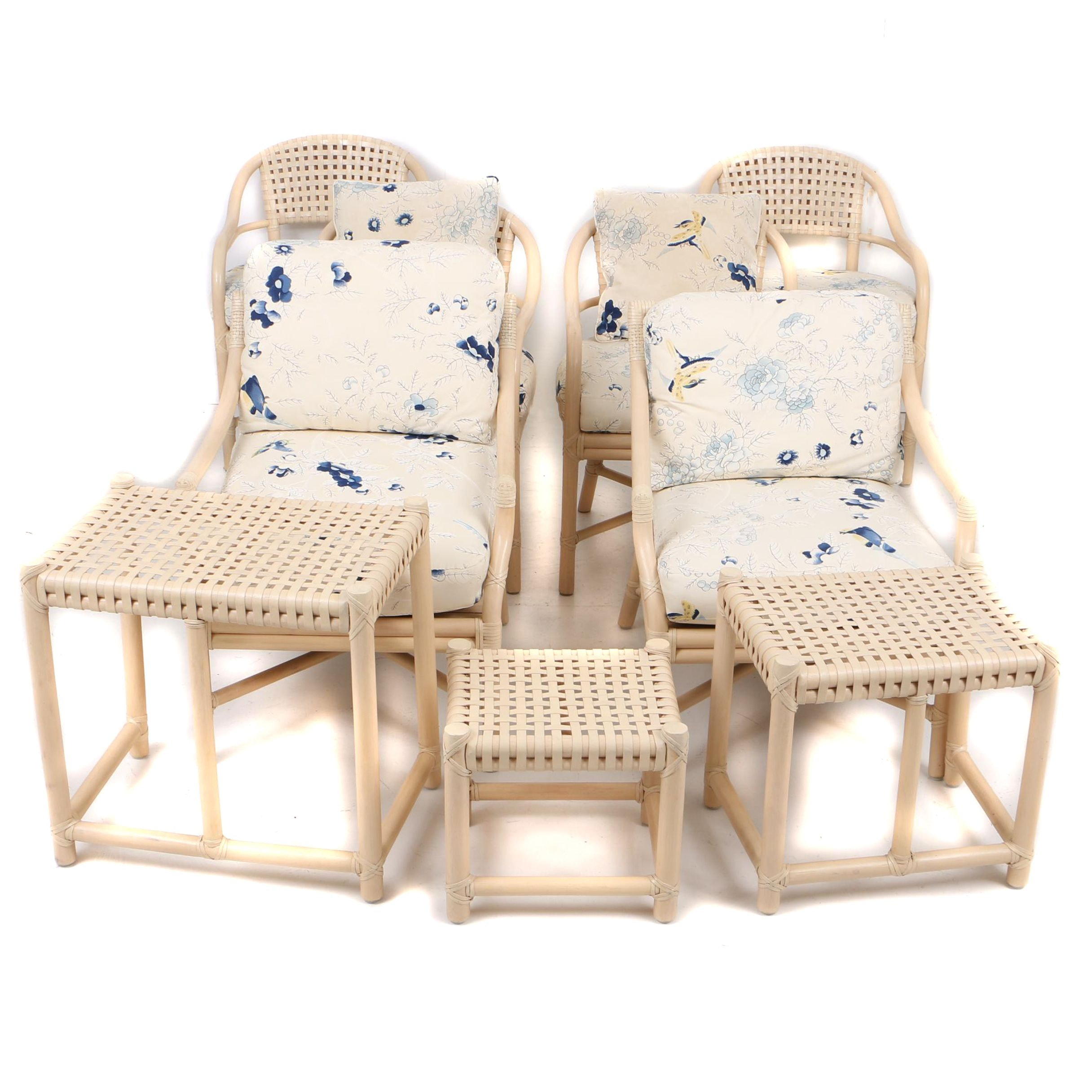 McGuire of San Francisco Rattan Style Chairs and Table Set in Nine Pieces