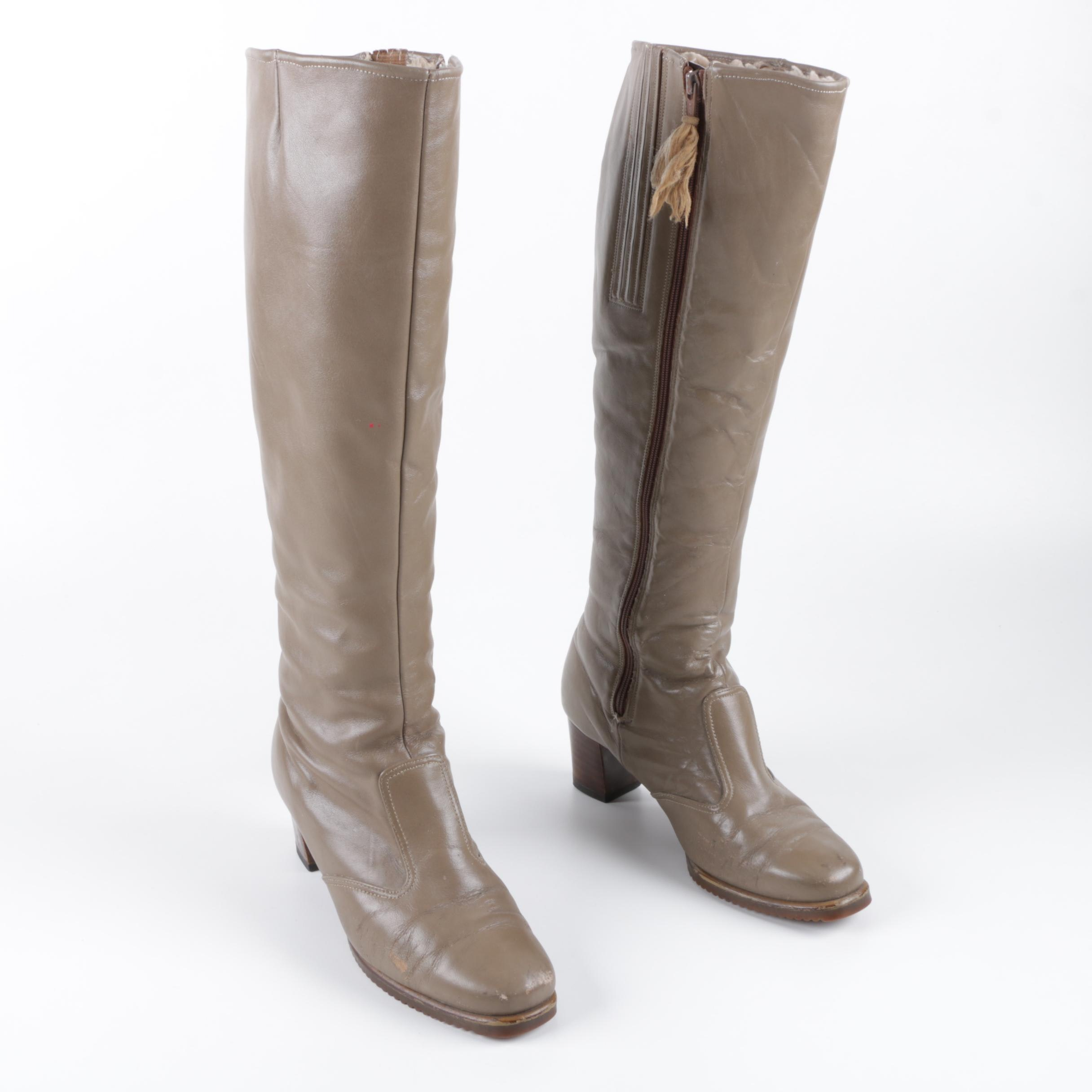 Women's Cobbies Taupe Leather Knee-High Boots with Faux Shearling Liners