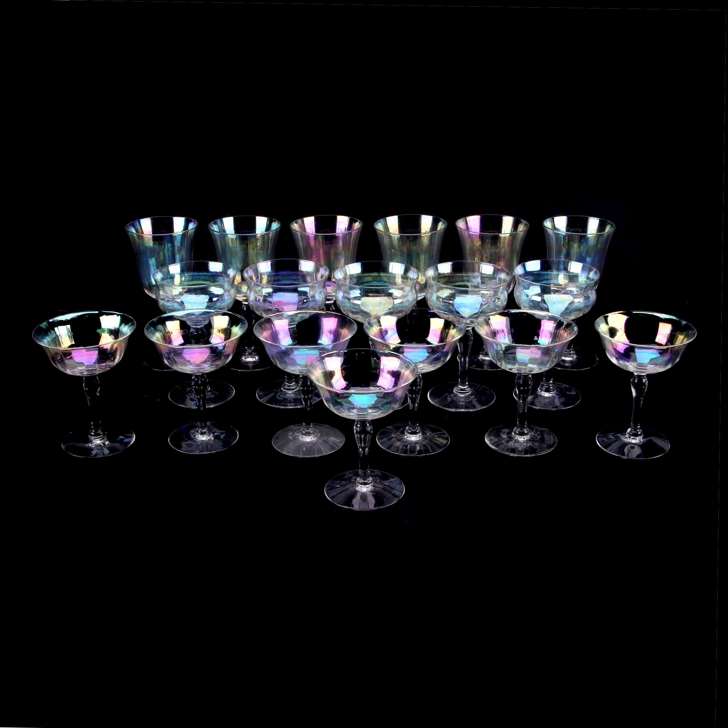 Vintage Iridescent Glass Stemware