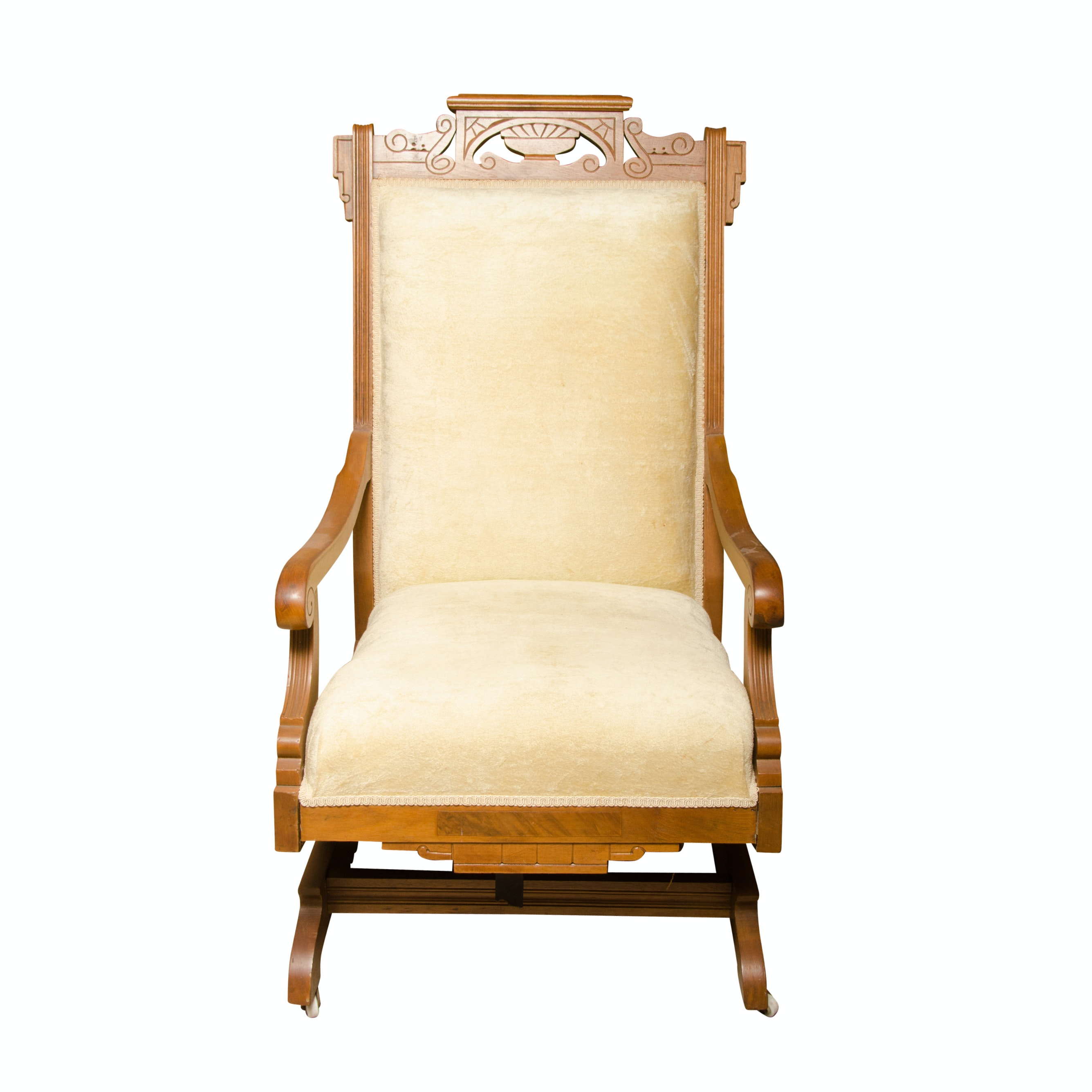 Wooden Glider Rocking Chair With Cream Upholstery ...
