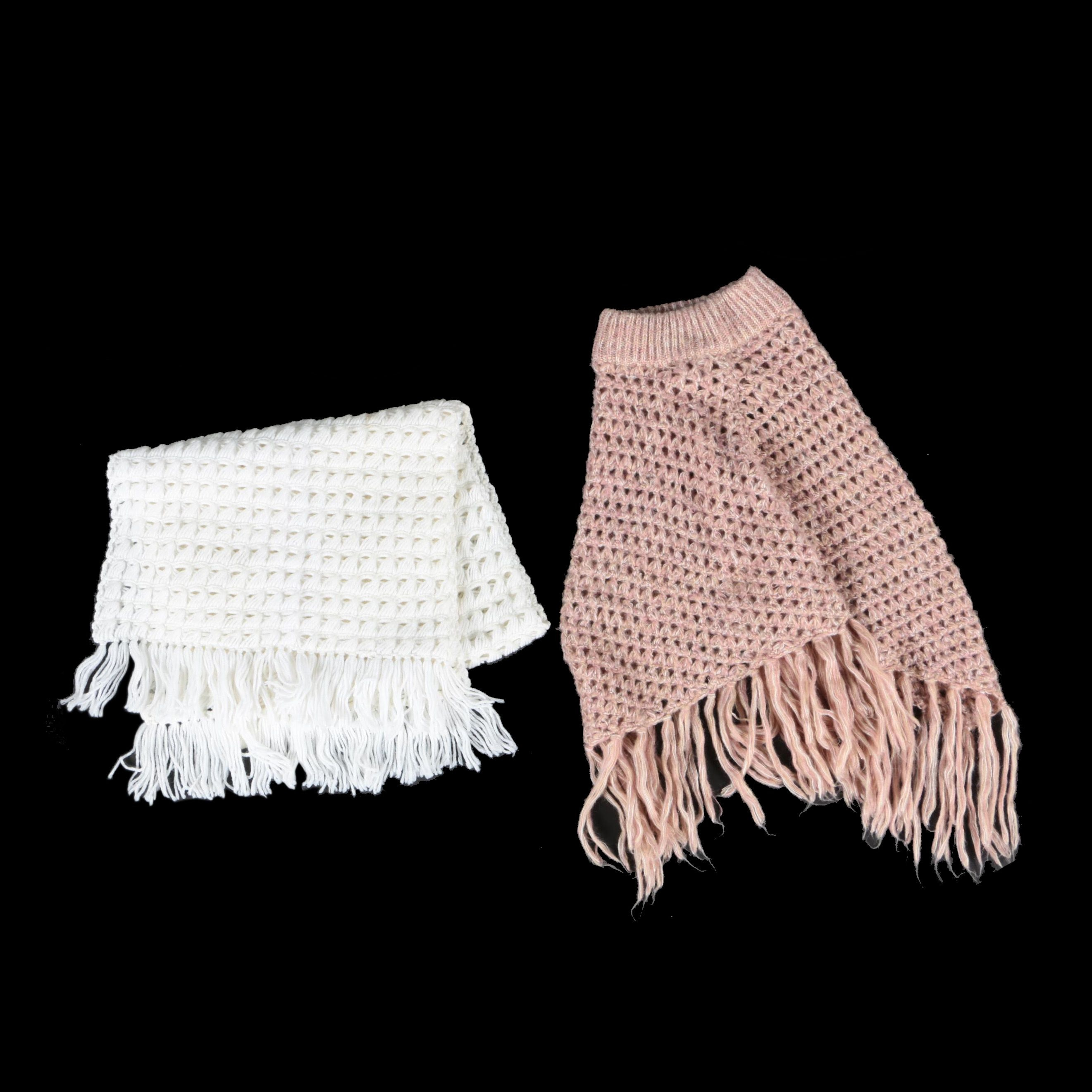 White Crocheted Shawl and Pink Crocheted Poncho