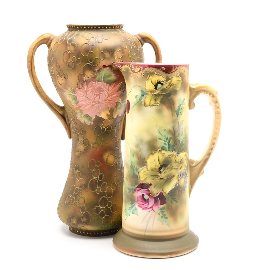Hand Painted Nippon Pitcher And Two Handled Vase Ebth