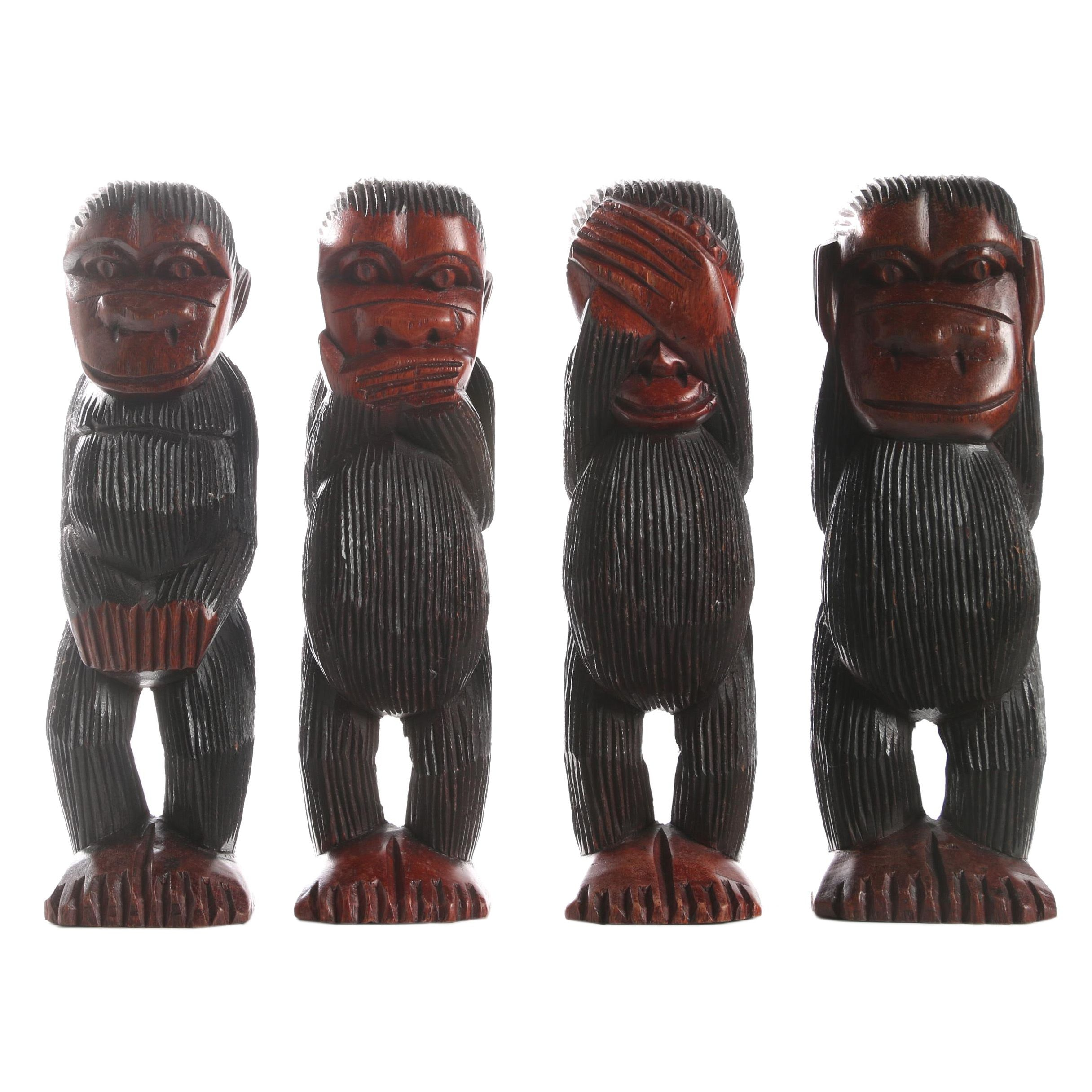 Four Carved Wooden Monkey Sculptures