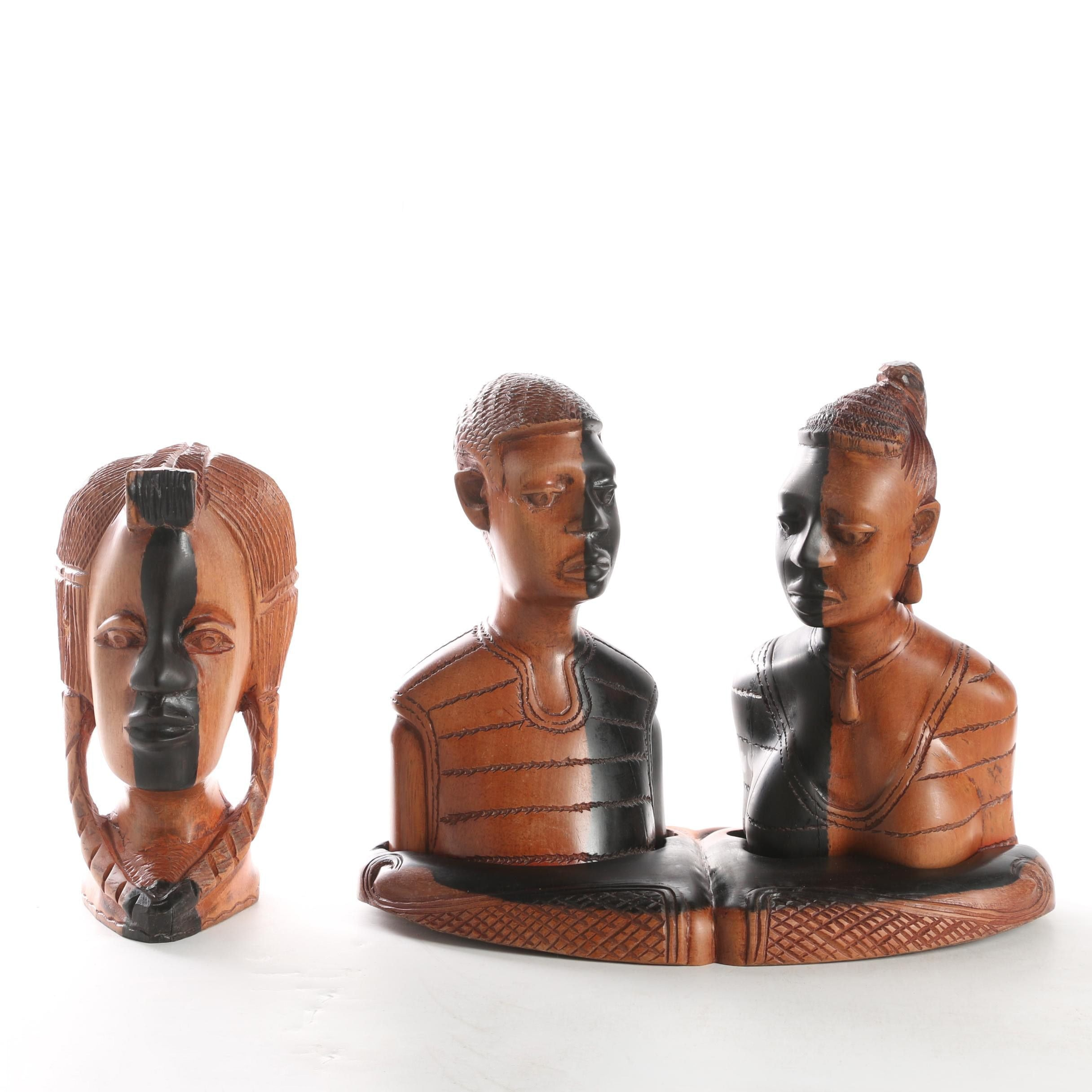 Three Carved Wooden Bust Sculptures