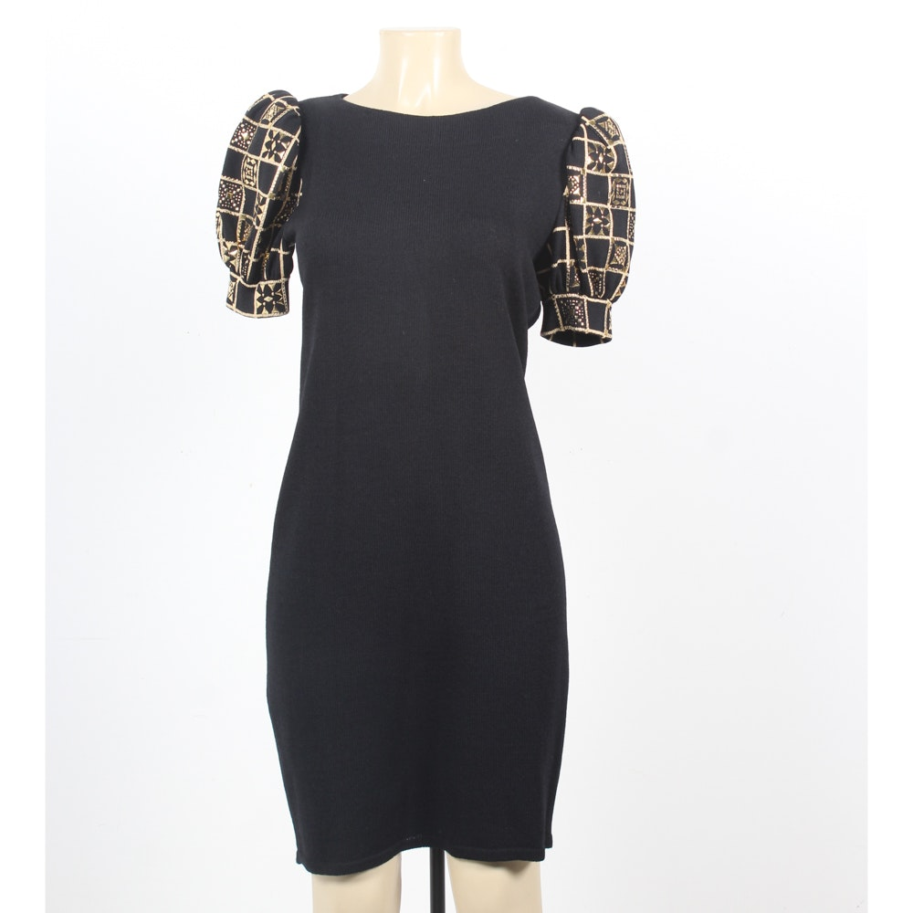St. John Evening Black Knit Dress with Embellished Puffed Sleeves