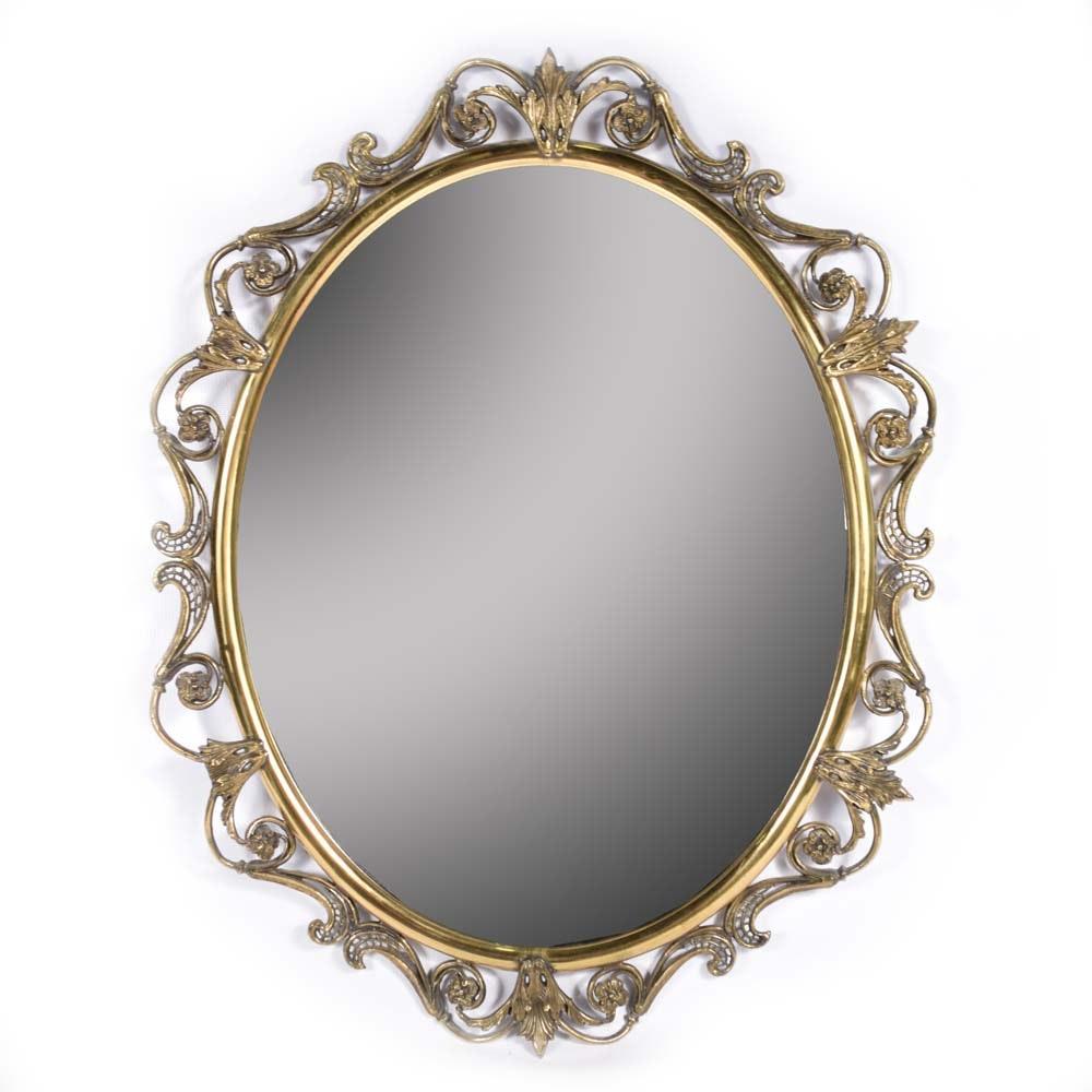 Vintage Brass Framed Wall Mirror