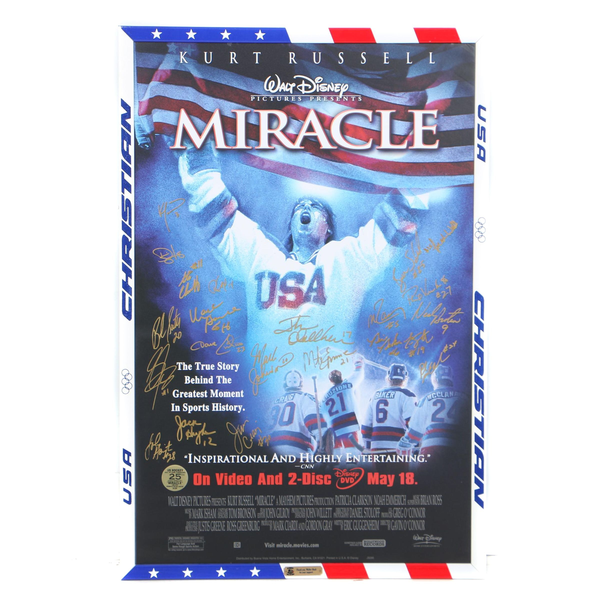 """Miracle"" Movie Poster Signed by 1980 U.S. Men's Gold Medal Olympic Hockey Team"