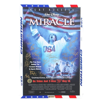 """""""Miracle"""" Movie Poster Signed by 1980 U.S. Men's Gold Medal Olympic Hockey Team"""