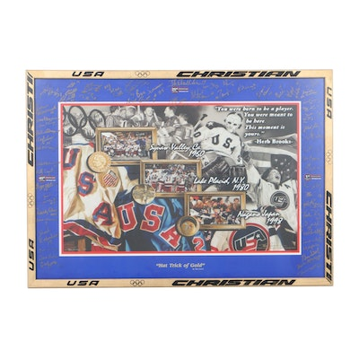 """Tim Cortes """"Hat Trick of Gold"""" Print Signed by 1960, 1980 and 1998 Olympic Teams"""