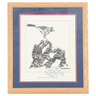 Herb Brooks Signed Print After Paul Conrad's Illustration of U.S. Hockey Team