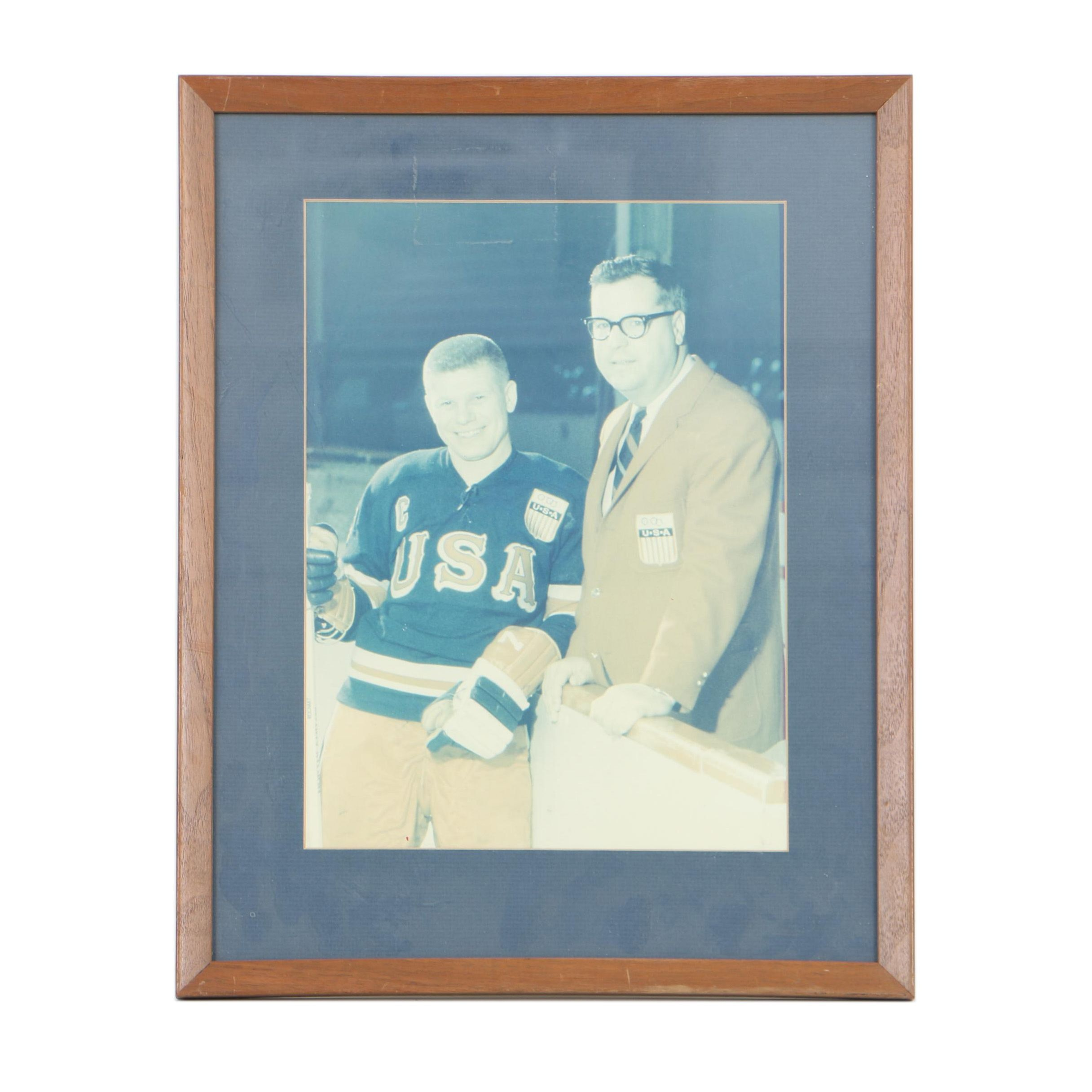 Vintage Photograph of Walter Bush, Jr. and USA Hockey Player Bill Reichart
