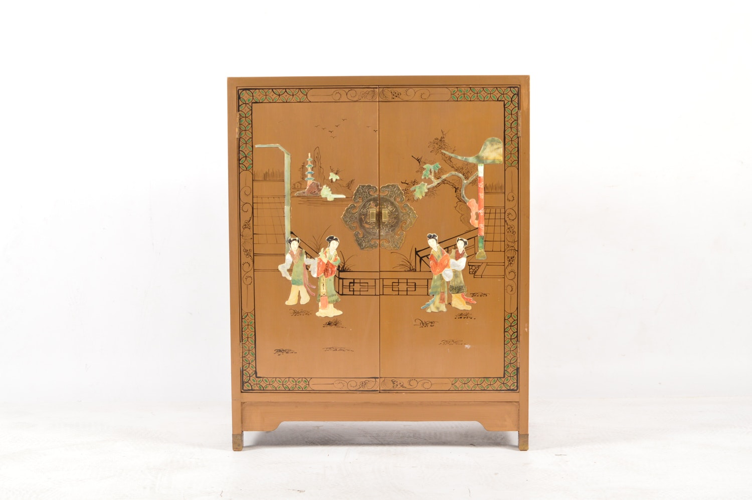 Vintage Chinoiserie Painted and Inlaid Cabinet