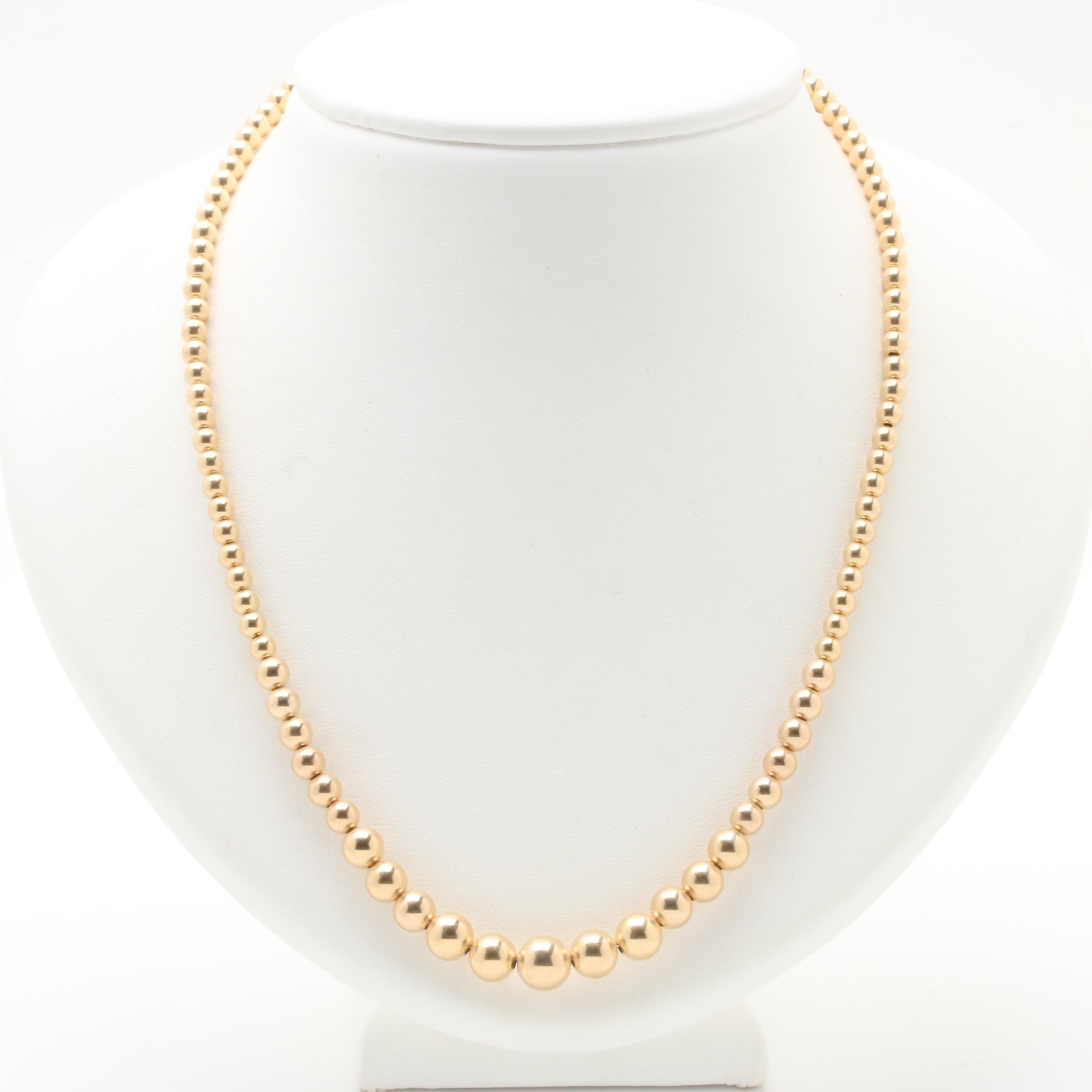 14K Yellow Gold Graduated Bead Necklace