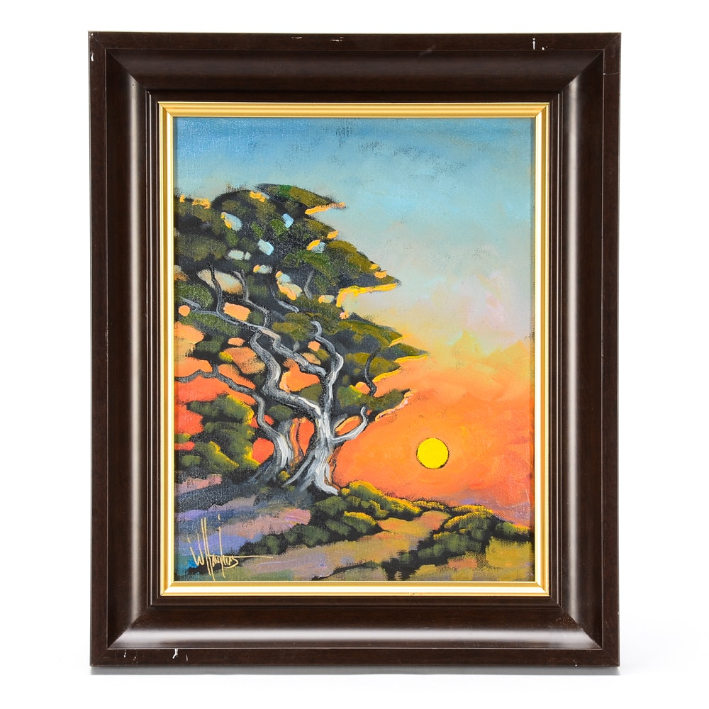 William Hawkins Oil Painting on Canvas of Trees in Landscape
