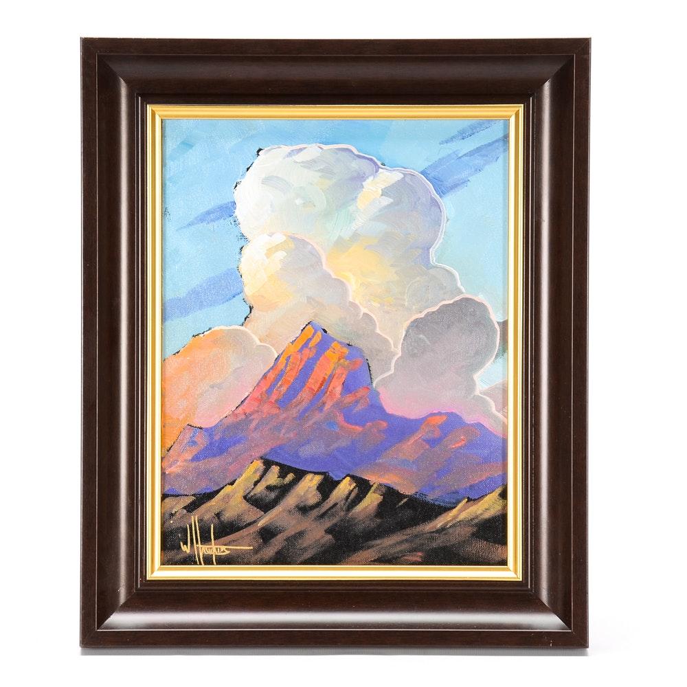 William Hawkins Oil on Canvas Landscape Painting