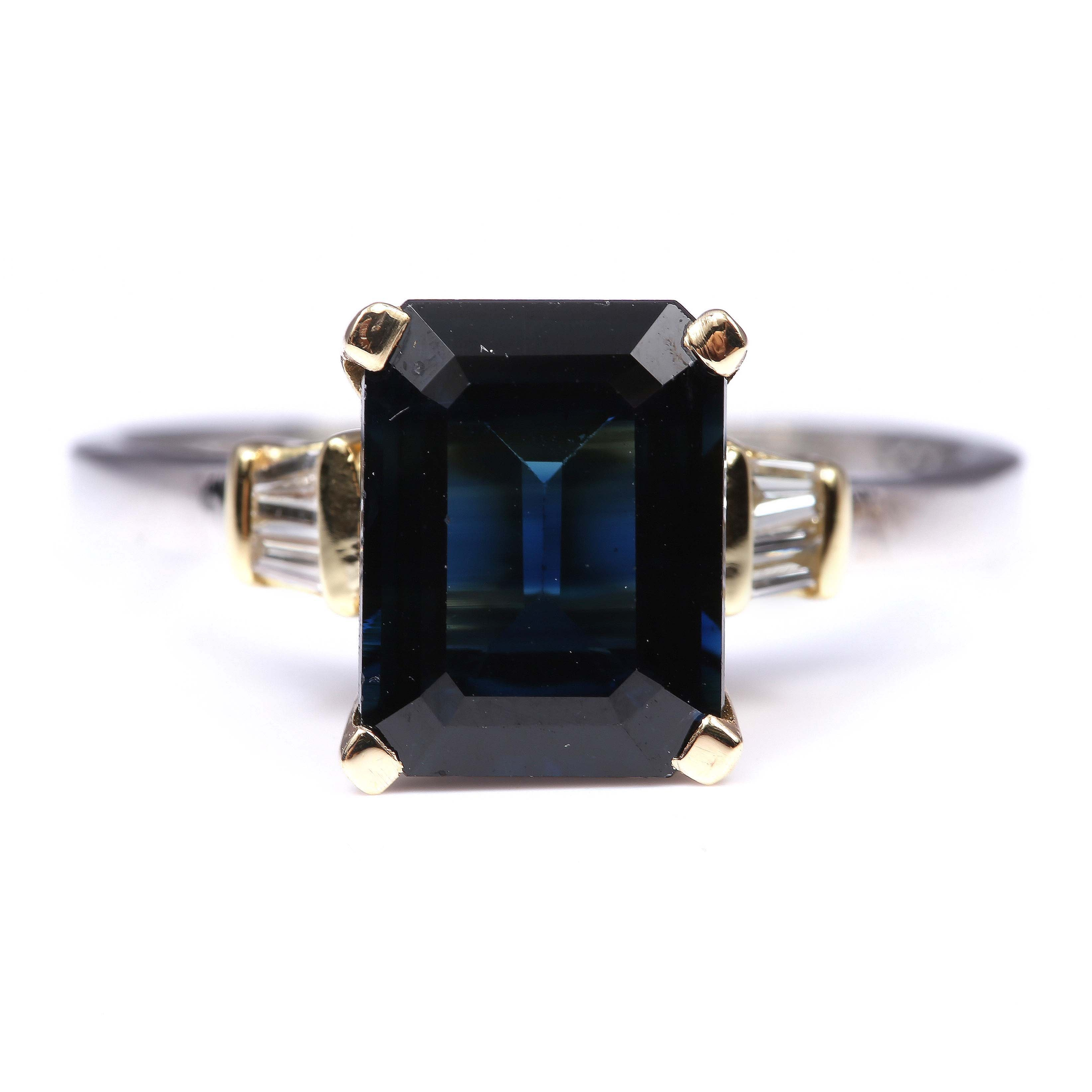 Platinum and 18K Yellow Gold 3.07 CT Sapphire and Diamond Ring