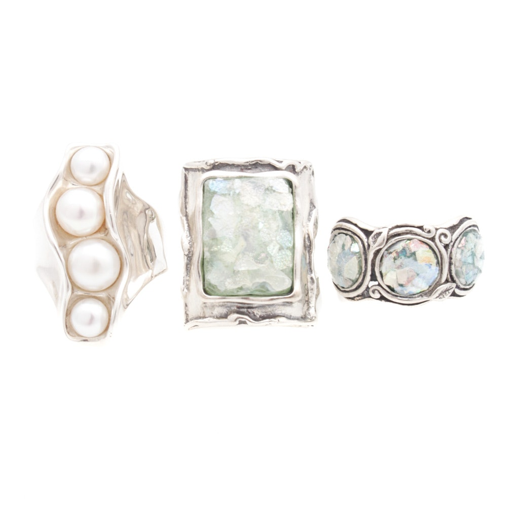 Sterling Silver Cultured Pearl and Natural Glass Rings