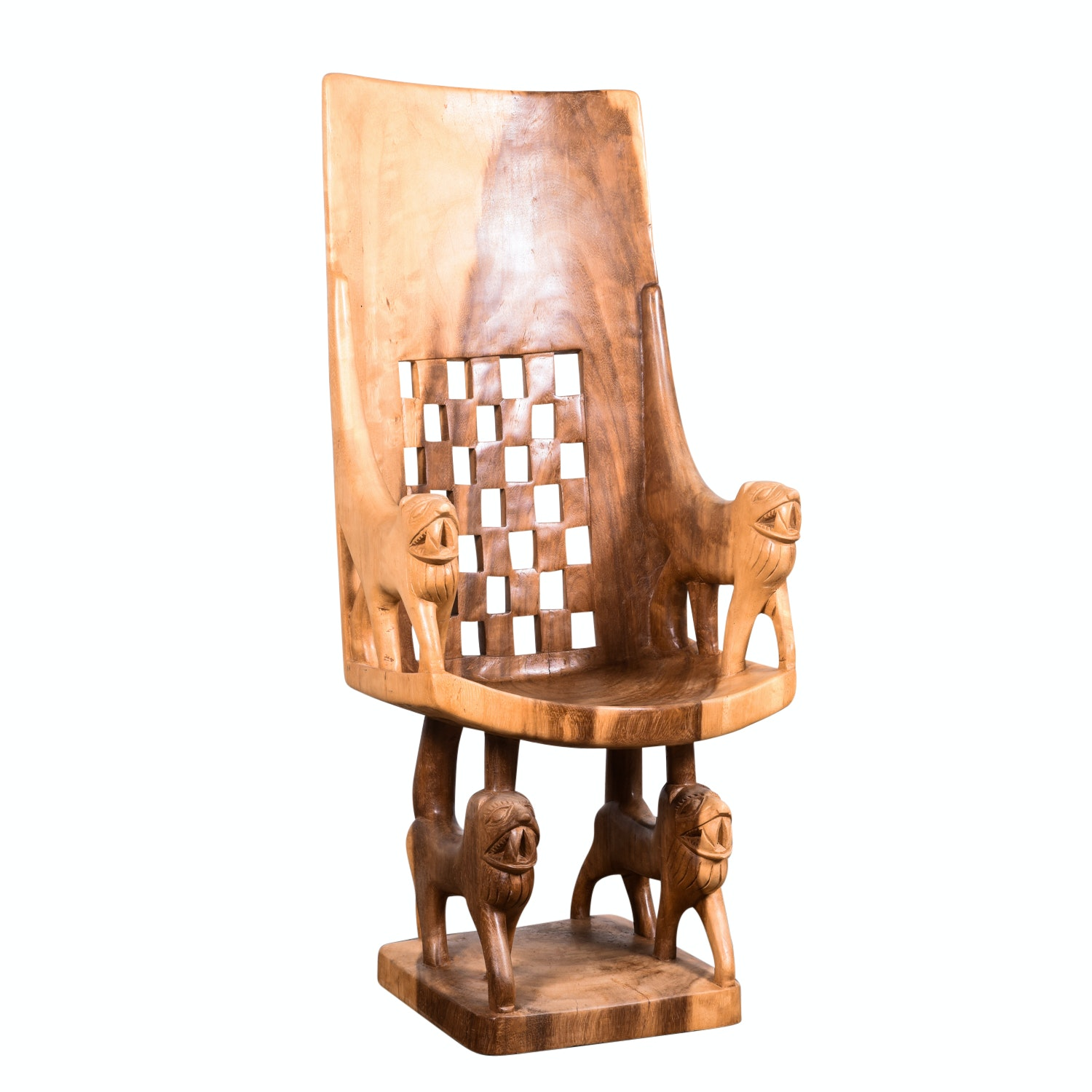 Exotic Wood Lion Chair