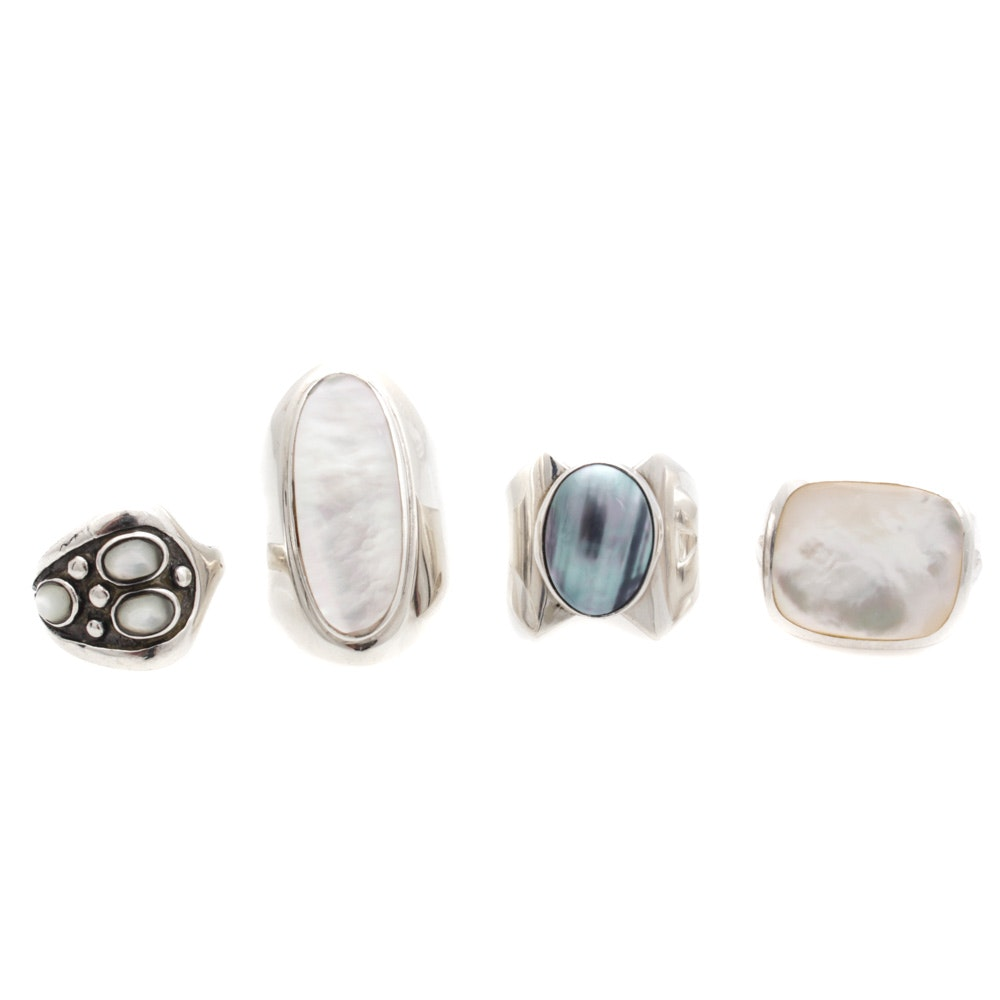 Sterling Silver Rings Featuring Mother of Pearl and Cultured Mabe Pearl