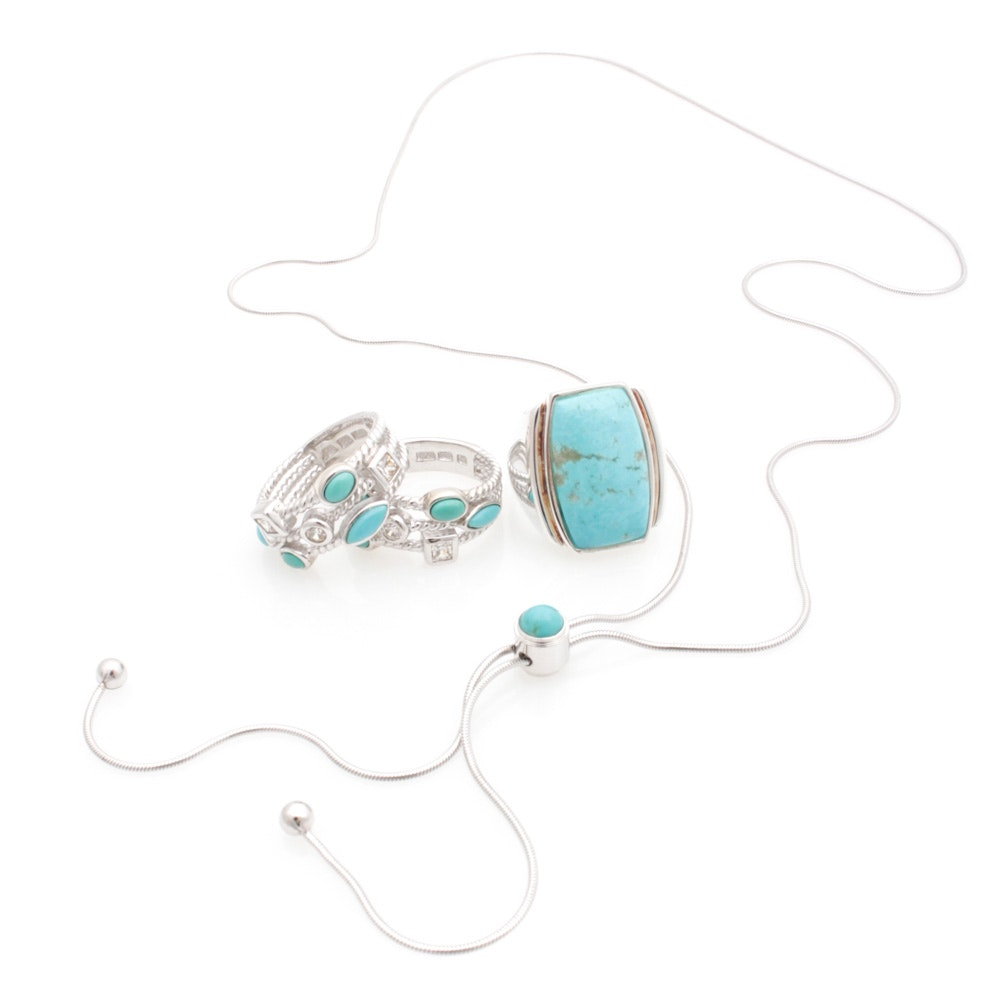 Sterling Silver and Dyed Turquoise Jewelry