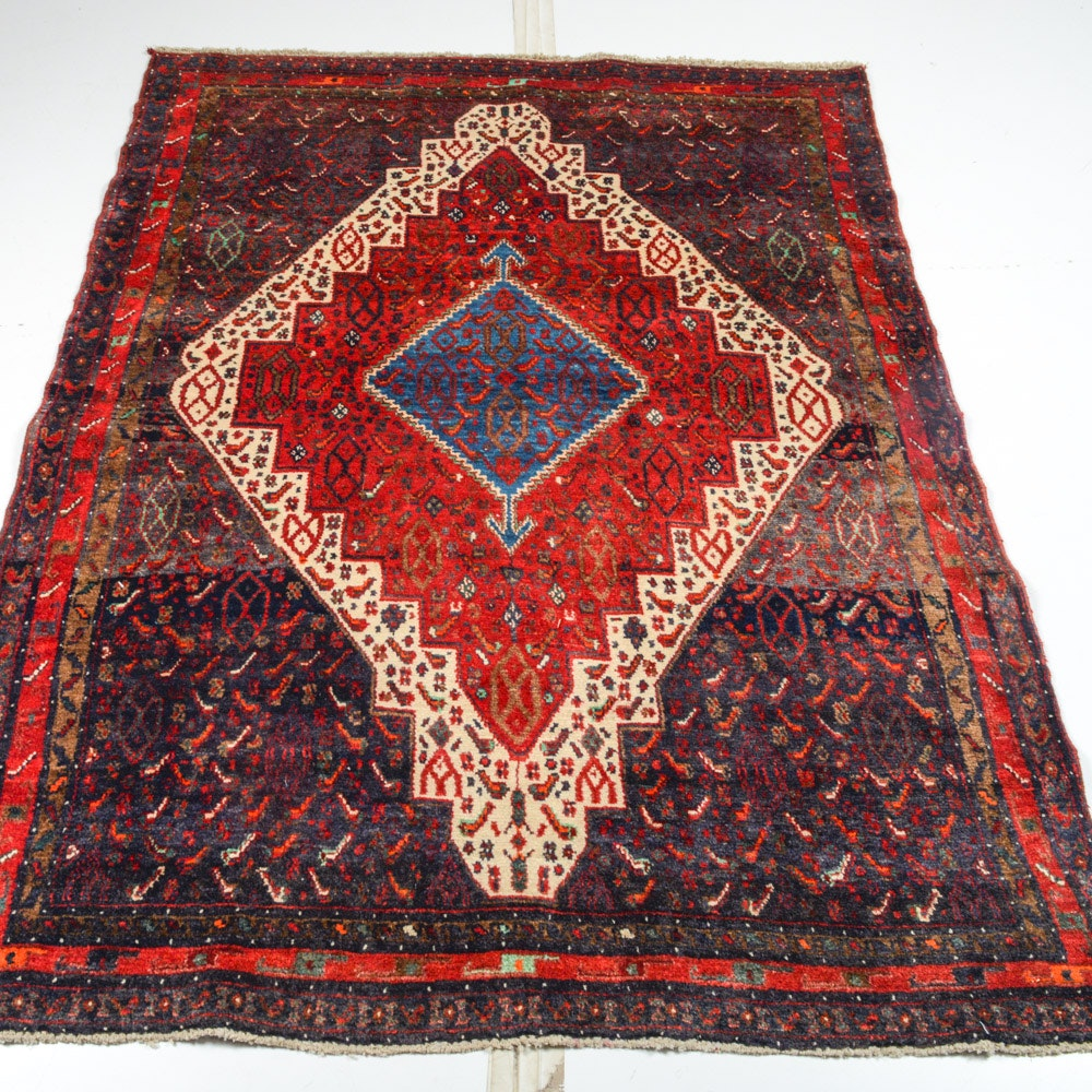 4' x 6' Semi-Antique Hand-Knotted Persian Bijar Rug
