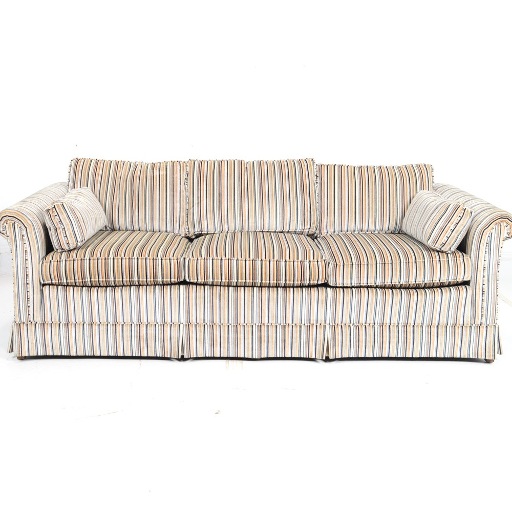Traditional Ethan Allen Stripe Upholstered Sofa