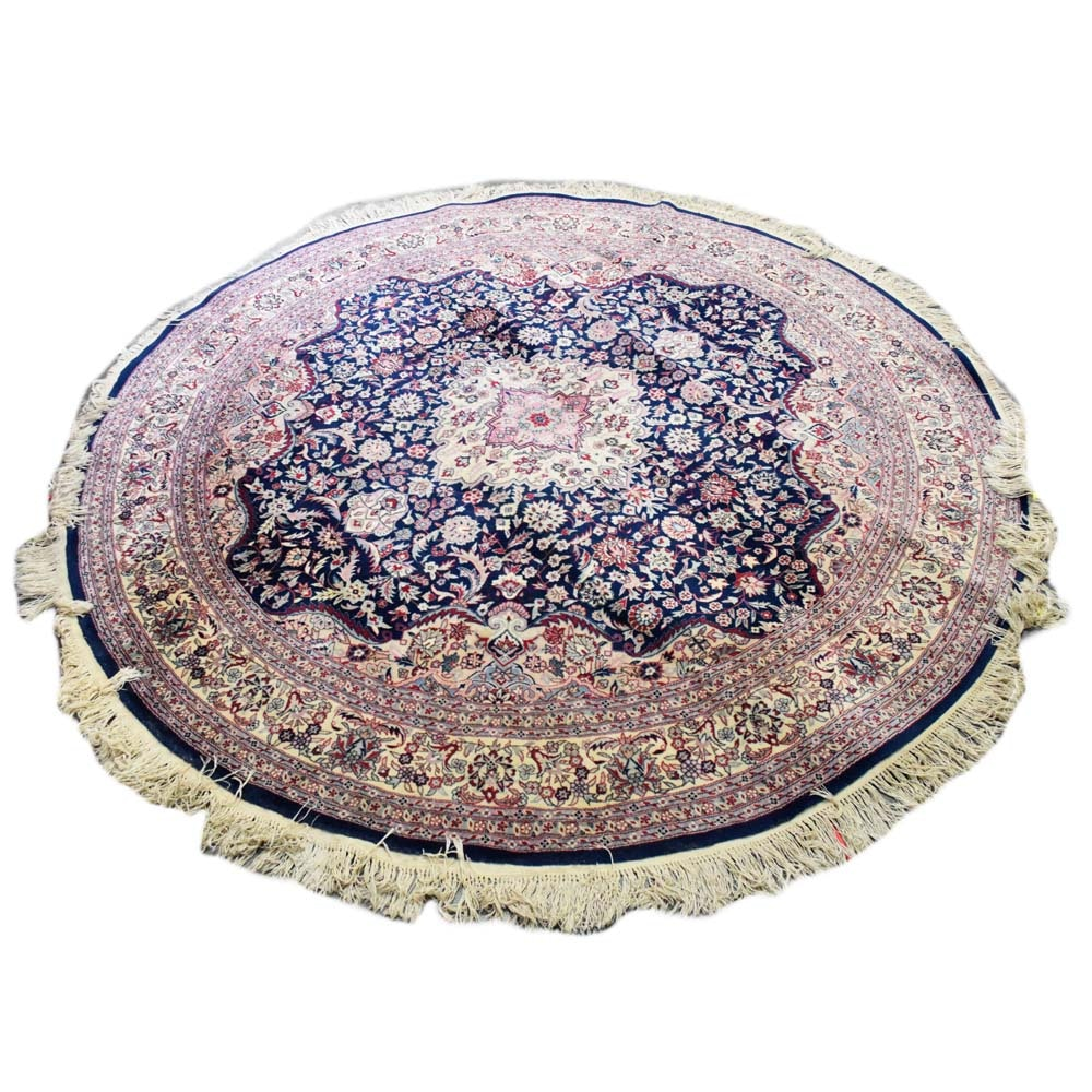 Hand-Knotted Persian Kashan Round Area Rug