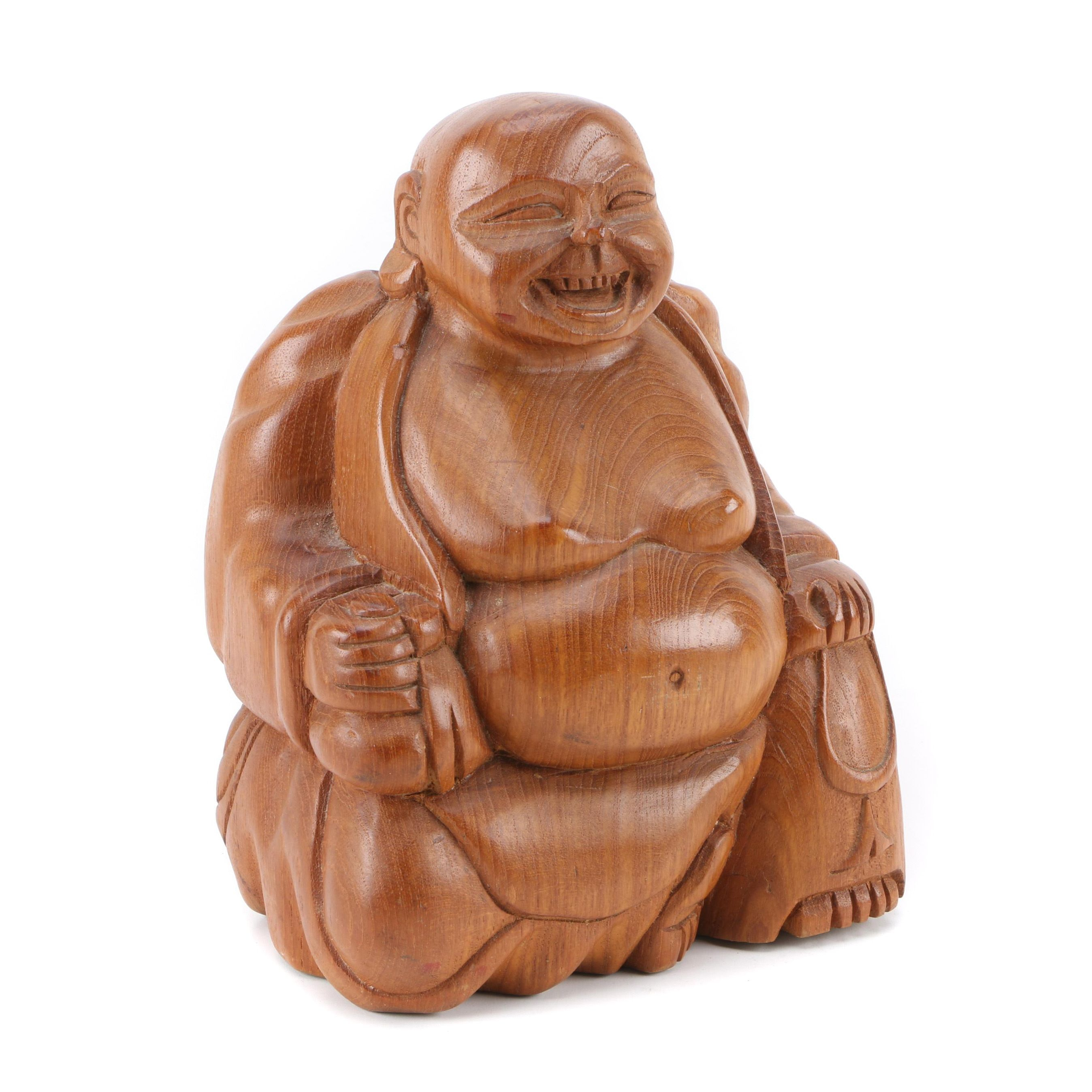 Carved Wood Budai Figurine