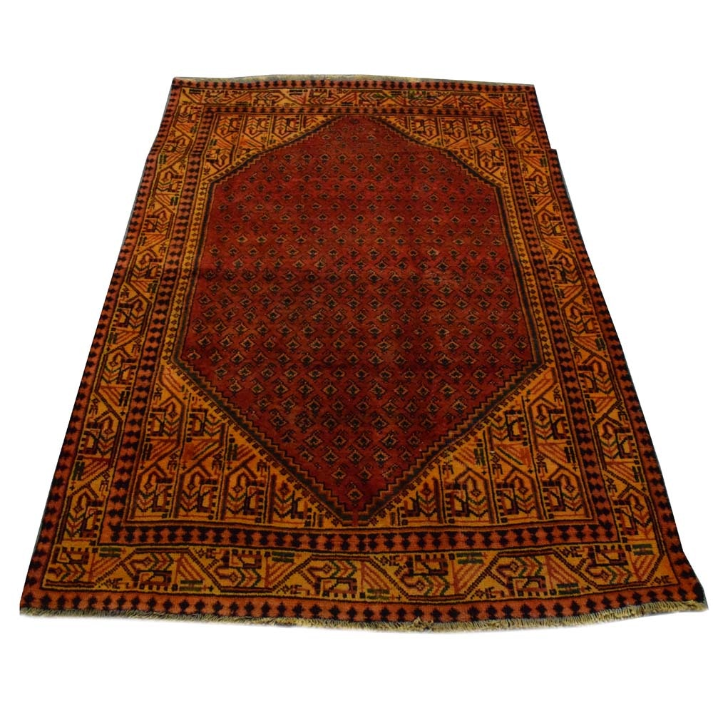 Hand-Knotted Iranian Boteh Area Rug