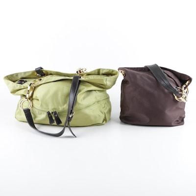 Women S Jean Pierre Klifa Jpk Paris 75 Nylon And Leather Shoulder Bags