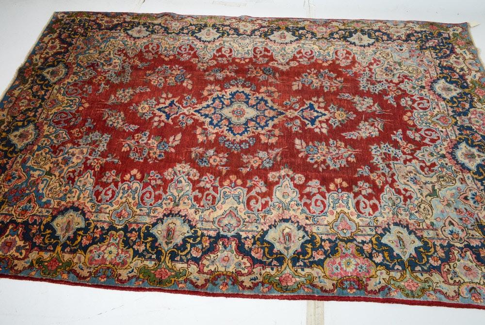Semi-Antique Hand-Knotted Persian Lavar Kerman Area Rug