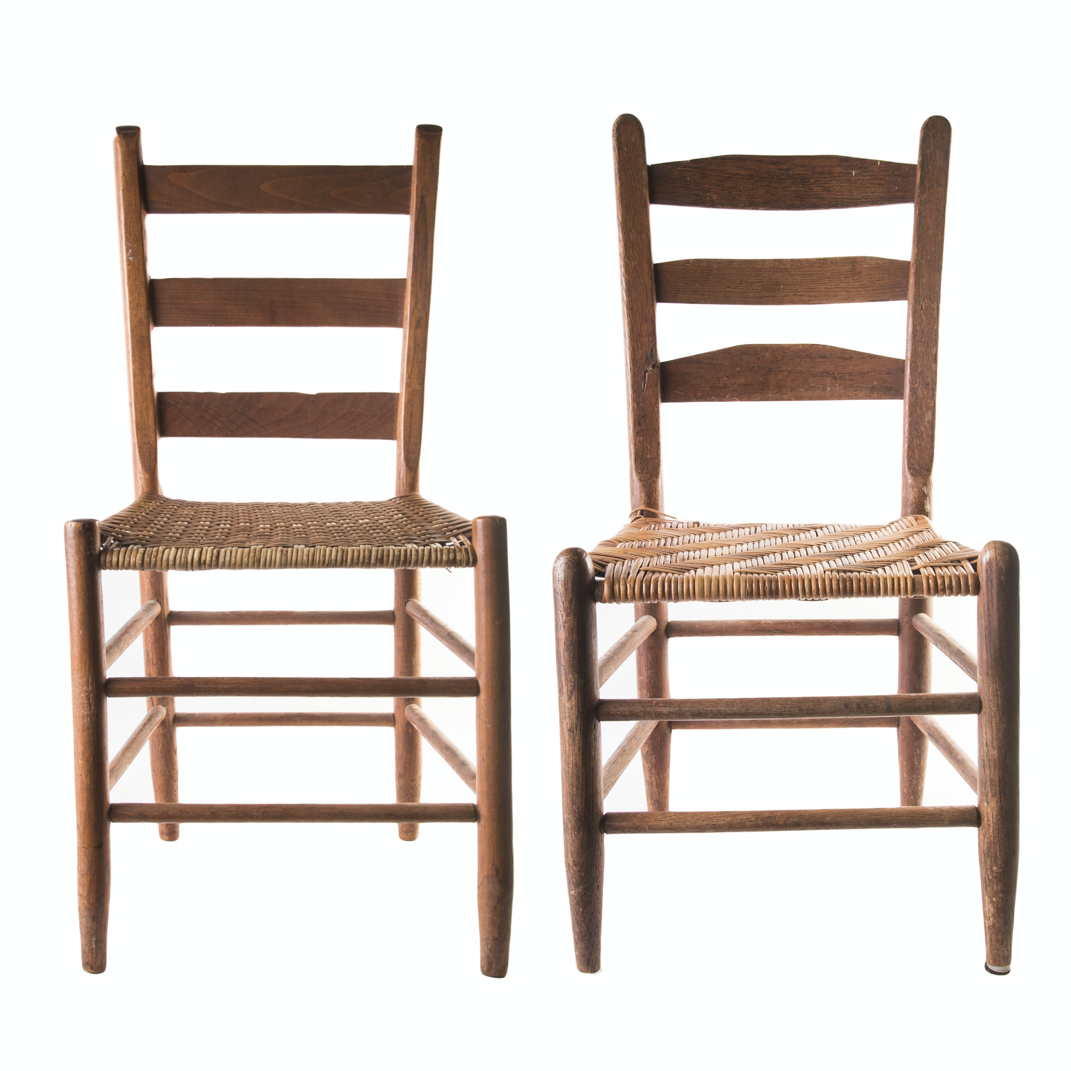 Vintage Caned Seat Ladderback Chairs