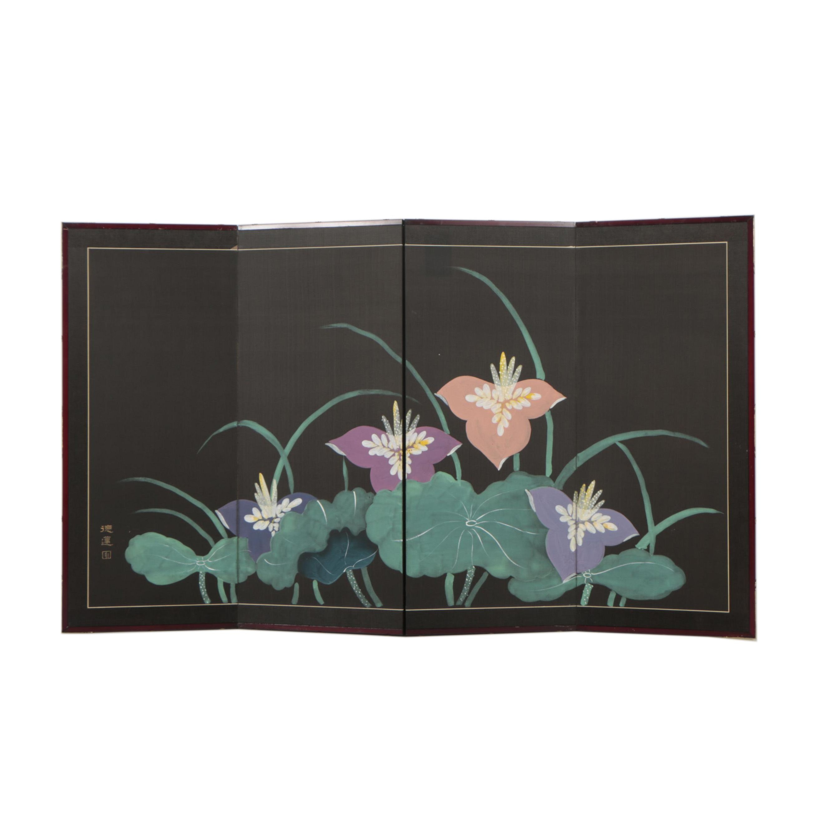 Japanese Hand Painted Folding Screen