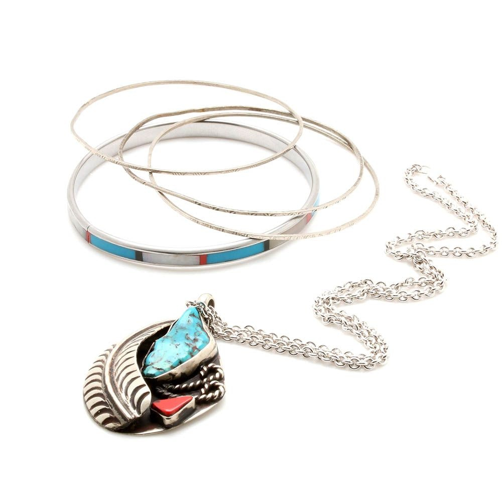 Stan Slim Navajo Diné Turquoise and Coral Pendant Necklace with Bangle Bracelets
