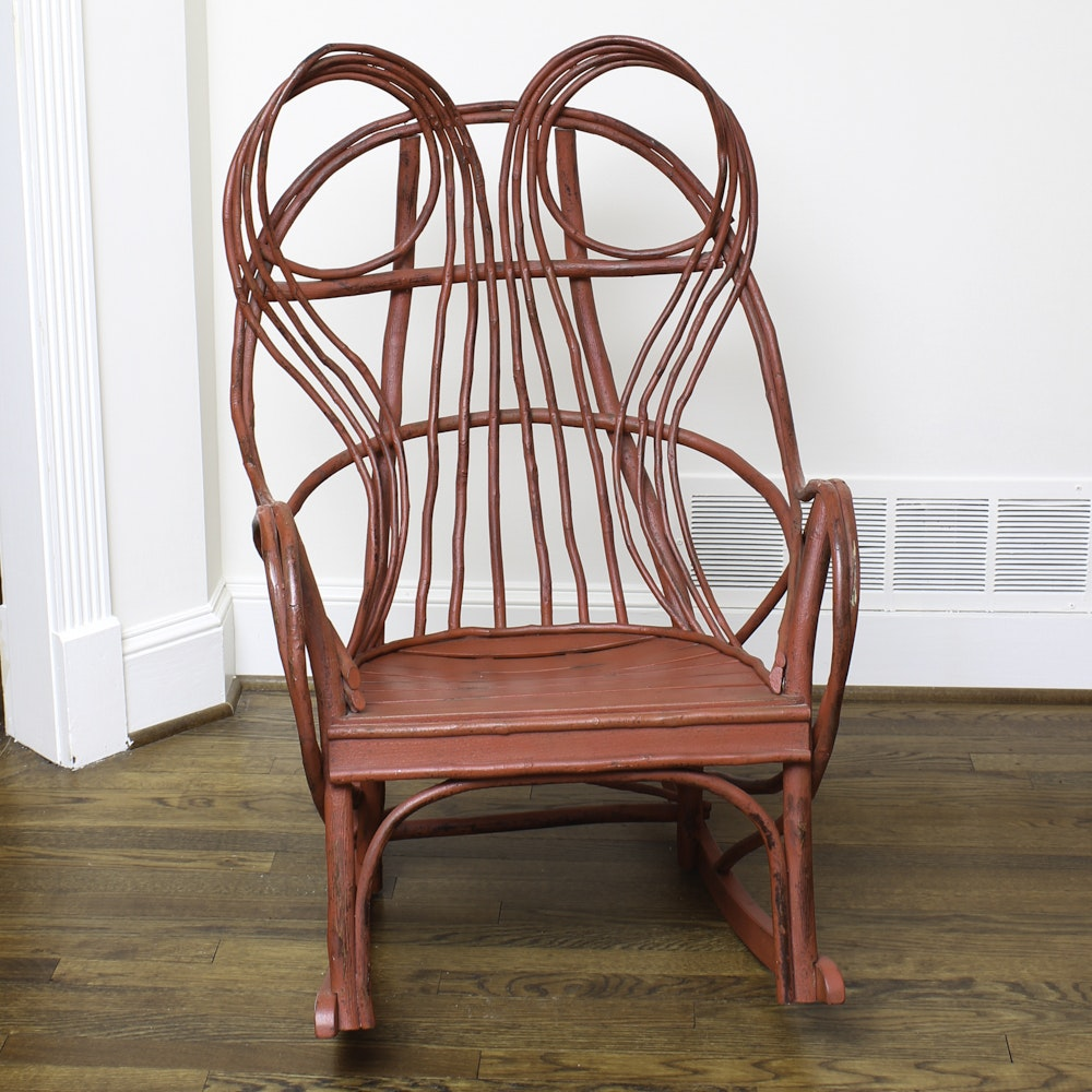 Vintage Rustic Style Red Painted Rocking Chair