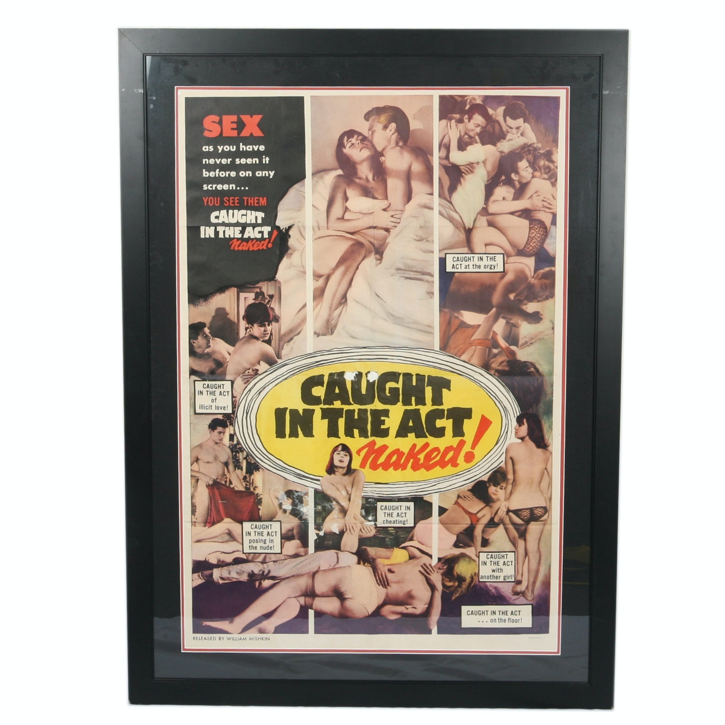 "Vintage ""Caught in the Act Naked!"" Poster"