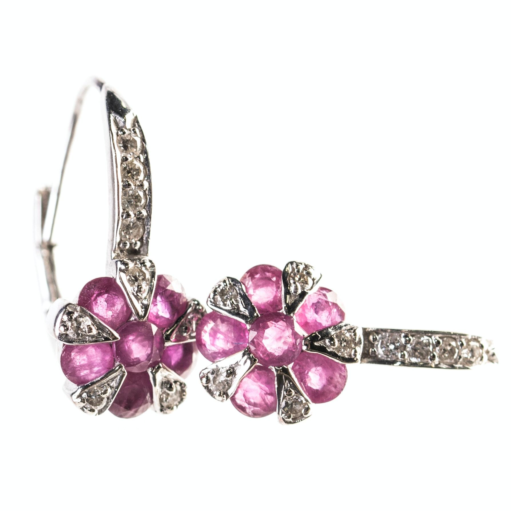 14K White Gold Ruby and Diamond Flower Earrings