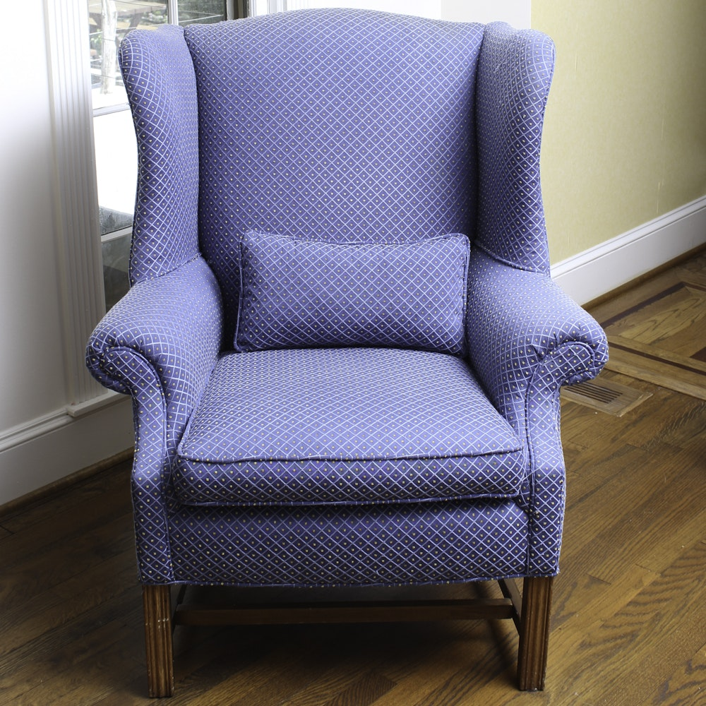 Vintage Chippendale Style Blue Upholstered Armchair