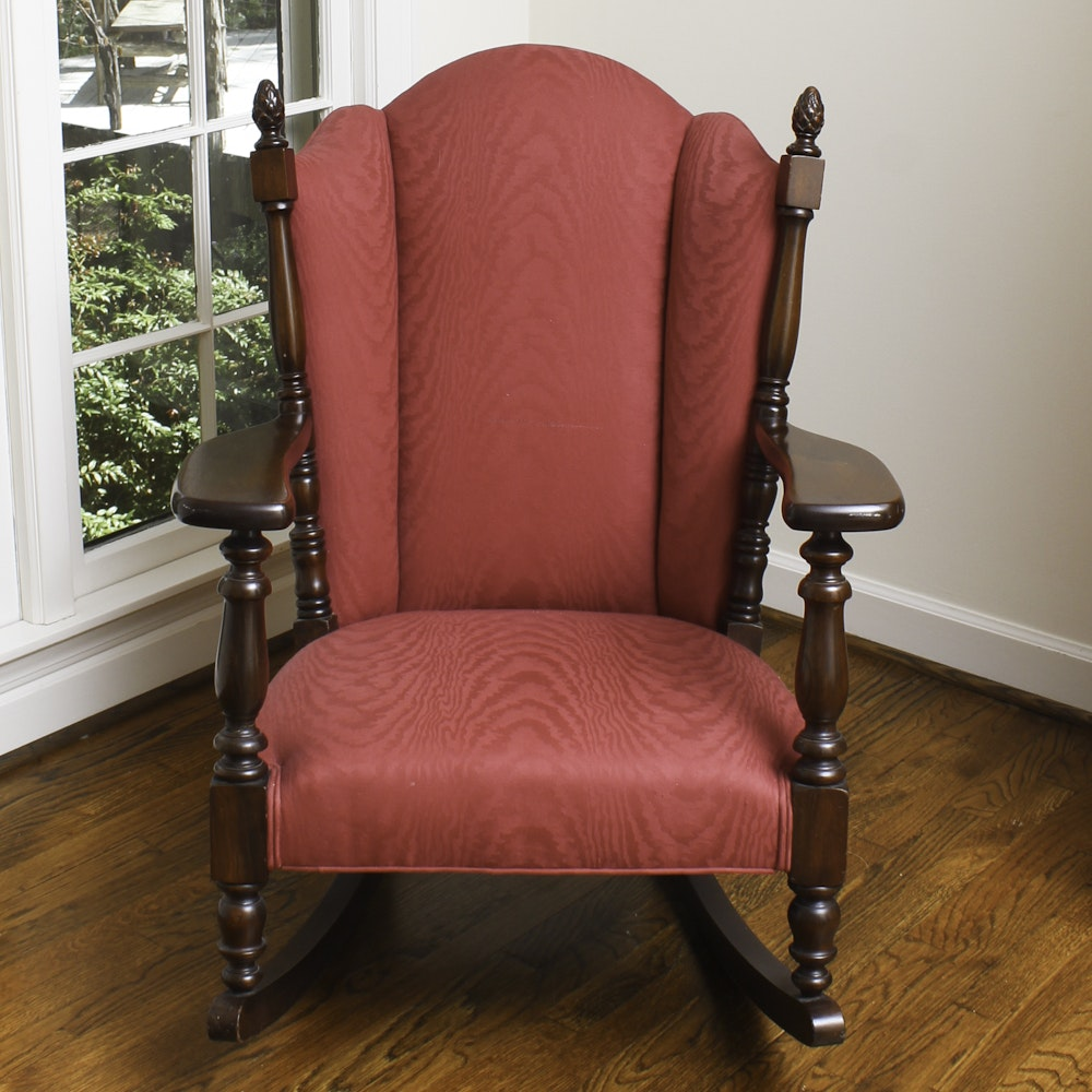 Vintage Upholstered Wingback Rocking Chair
