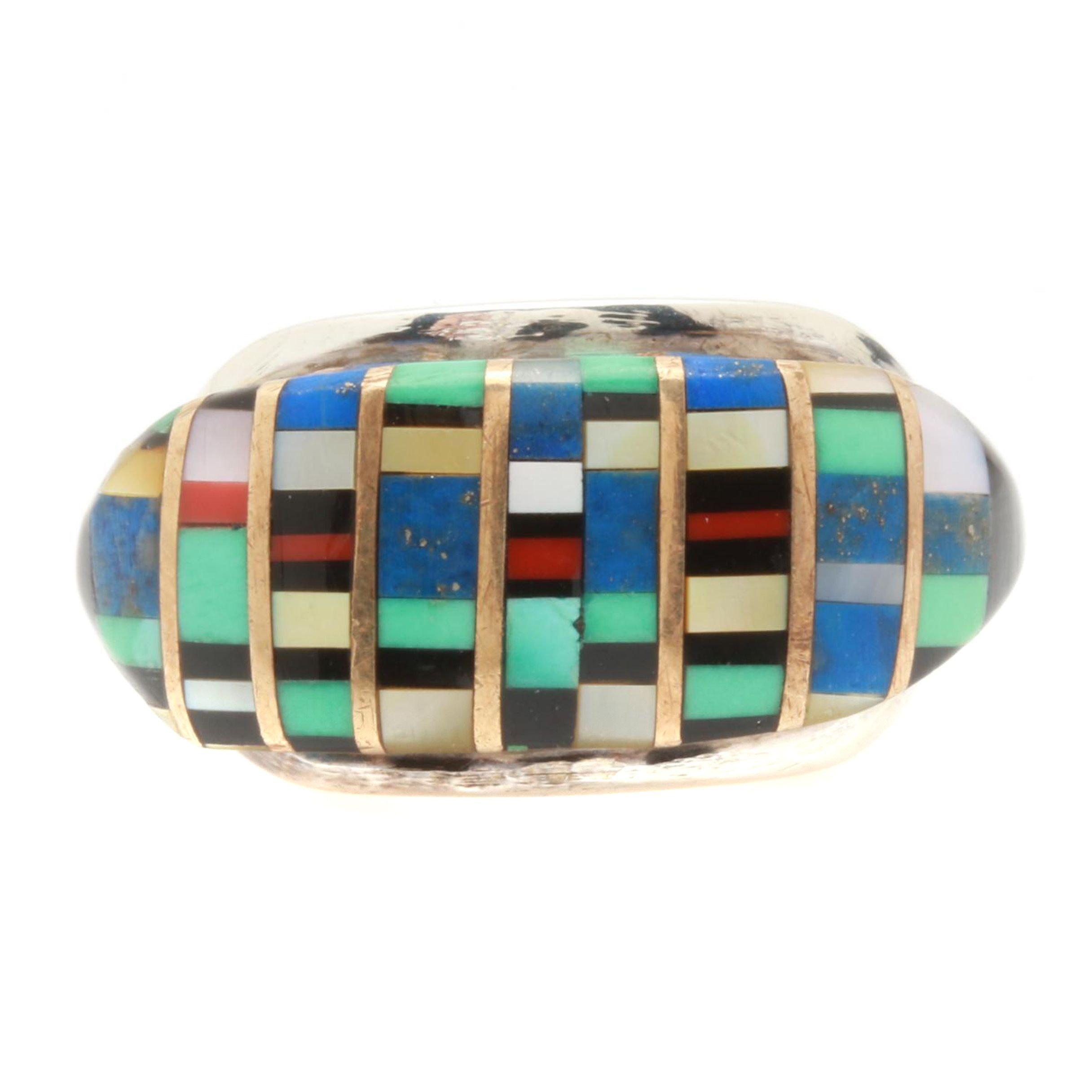 Lee Edaakie Zuni Sterling Silver Inlaid Multi Gemstone Ring